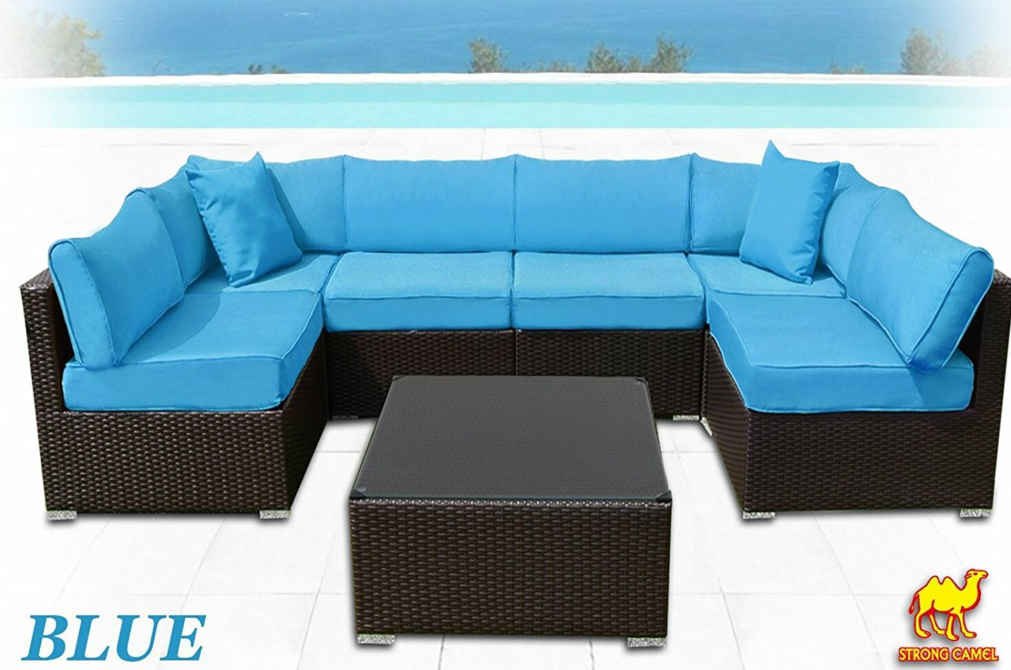 Ilebo 7 Piece Rattan Sectional Set with Cushions Fabric: Blue
