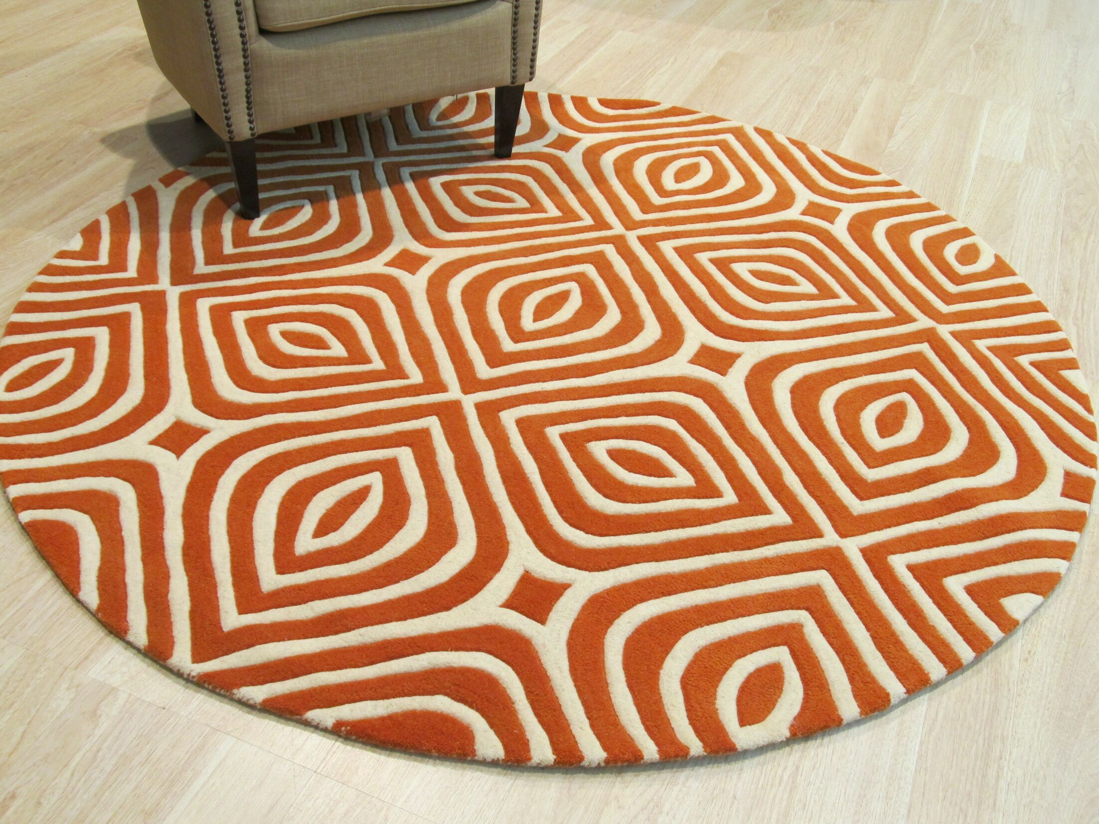 Corrigan Hand-Tufted Wool Orange Area Rug Rug Size: Round 6'