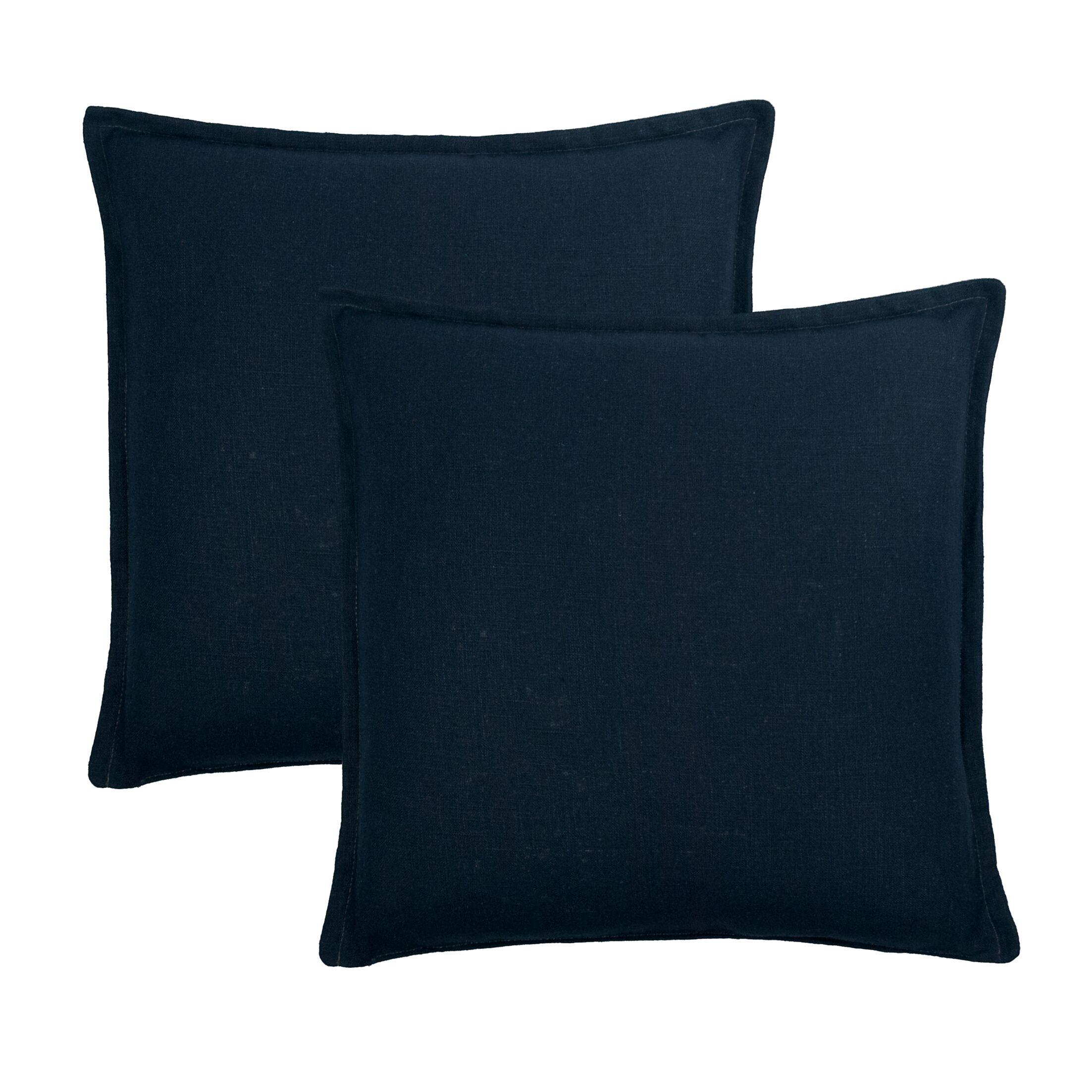 Frisco Reversible Linen Throw Pillow Color: Dark Blue