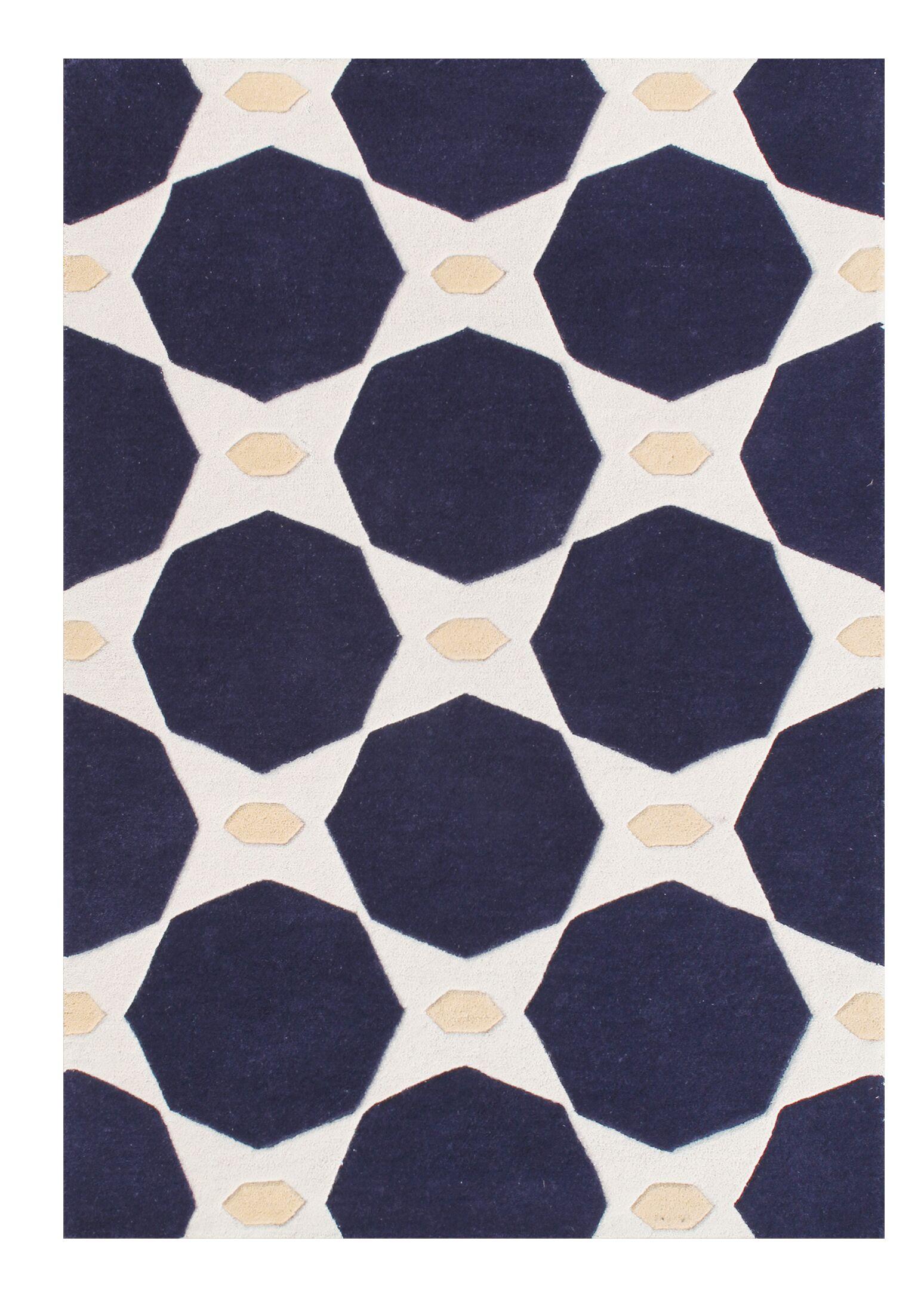 Eilean Modern Spirit Hand-Tufted Wool Black Area Rug Rug Size: Rectangle 8' x 10'