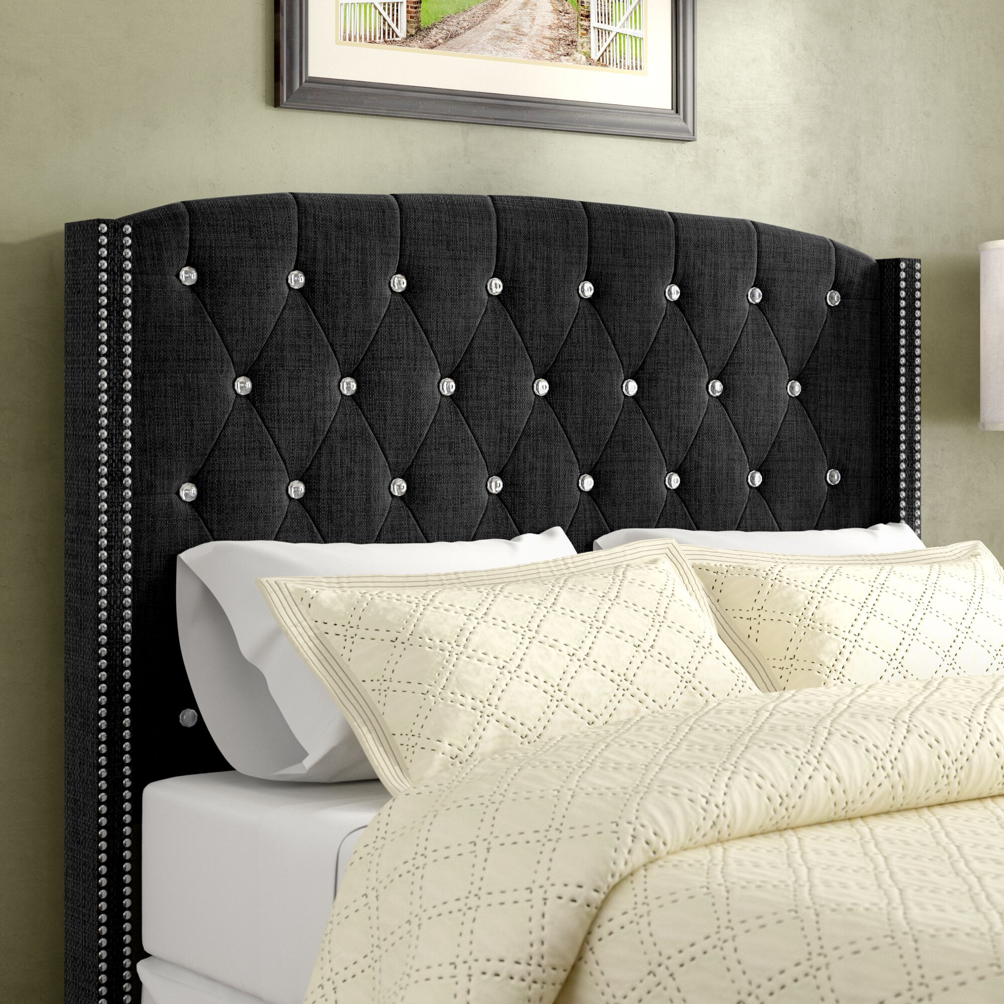 Martins Upholstered Panel Headboard Color: Charcoal, Size: Queen