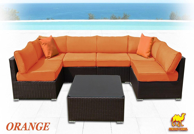 Ilebo 7 Piece Rattan Sectional Set with Cushions Fabric: Orange
