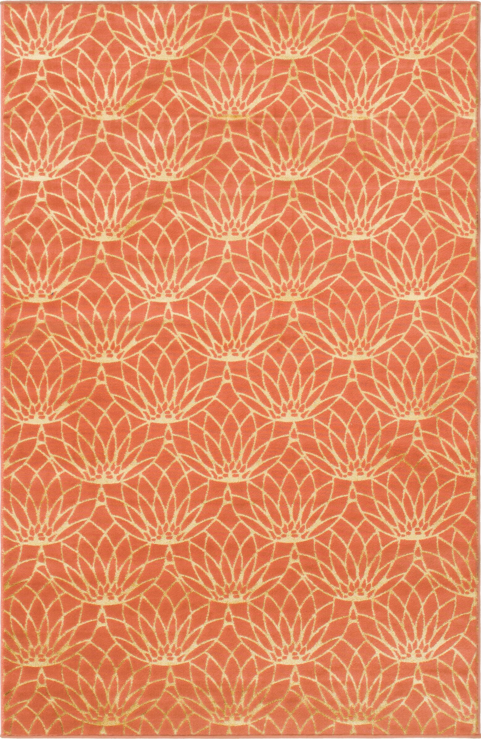 Glam Coral Area Rug Rug Size: Rectangle 4' x 6'