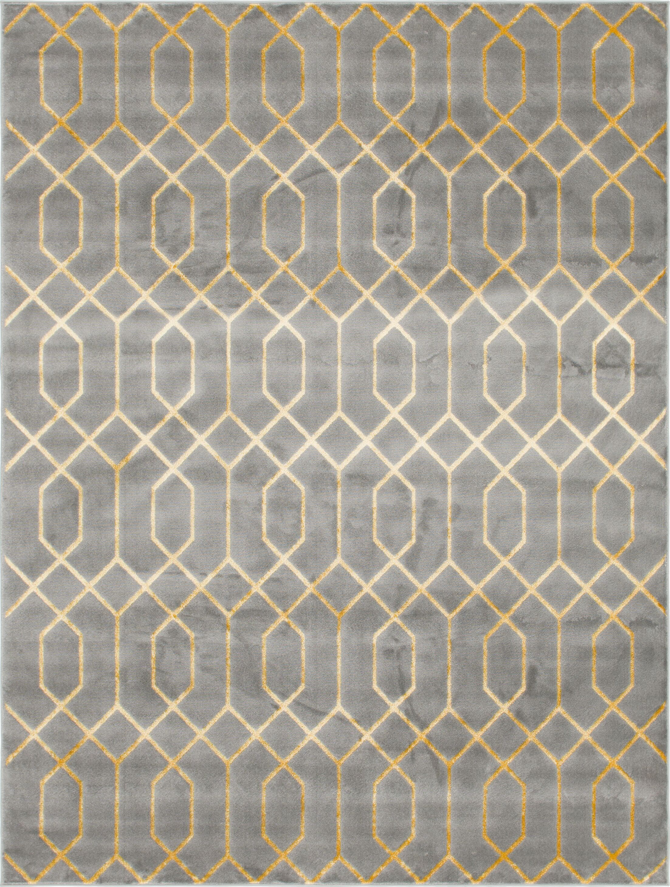 Glam Gray Area Rug Rug Size: Rectangle 8' x 10'