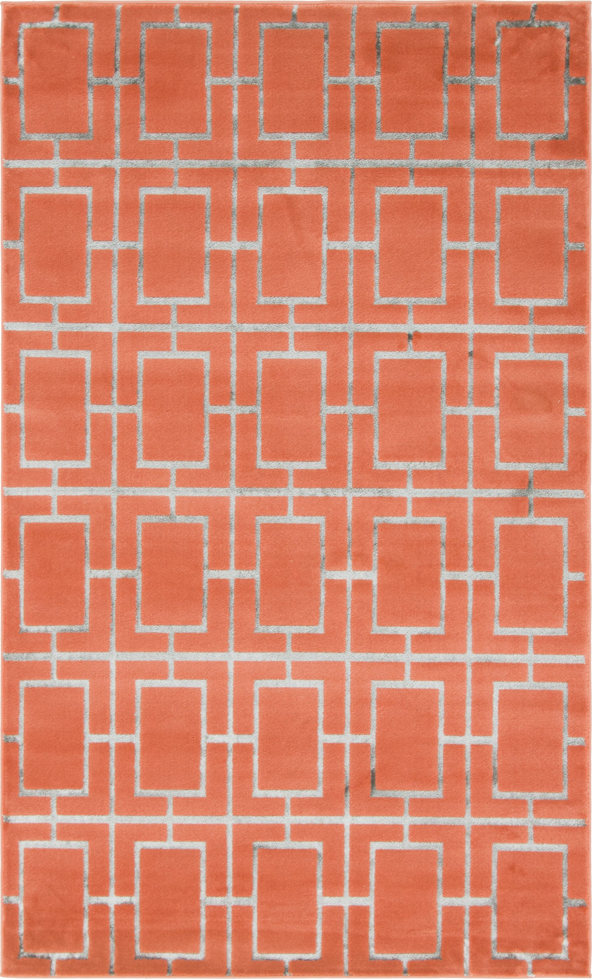 Glam Coral Area Rug Rug Size: Rectangle 5' x 8'