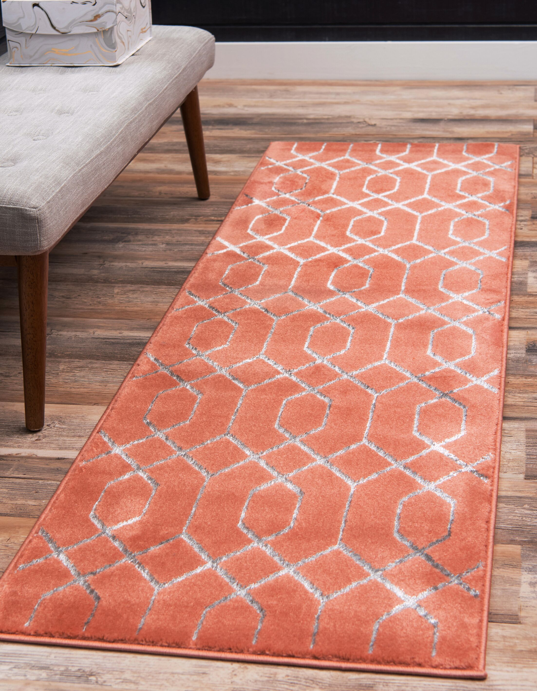 Glam Coral Area Rug Rug Size: Runner 2' x 6'