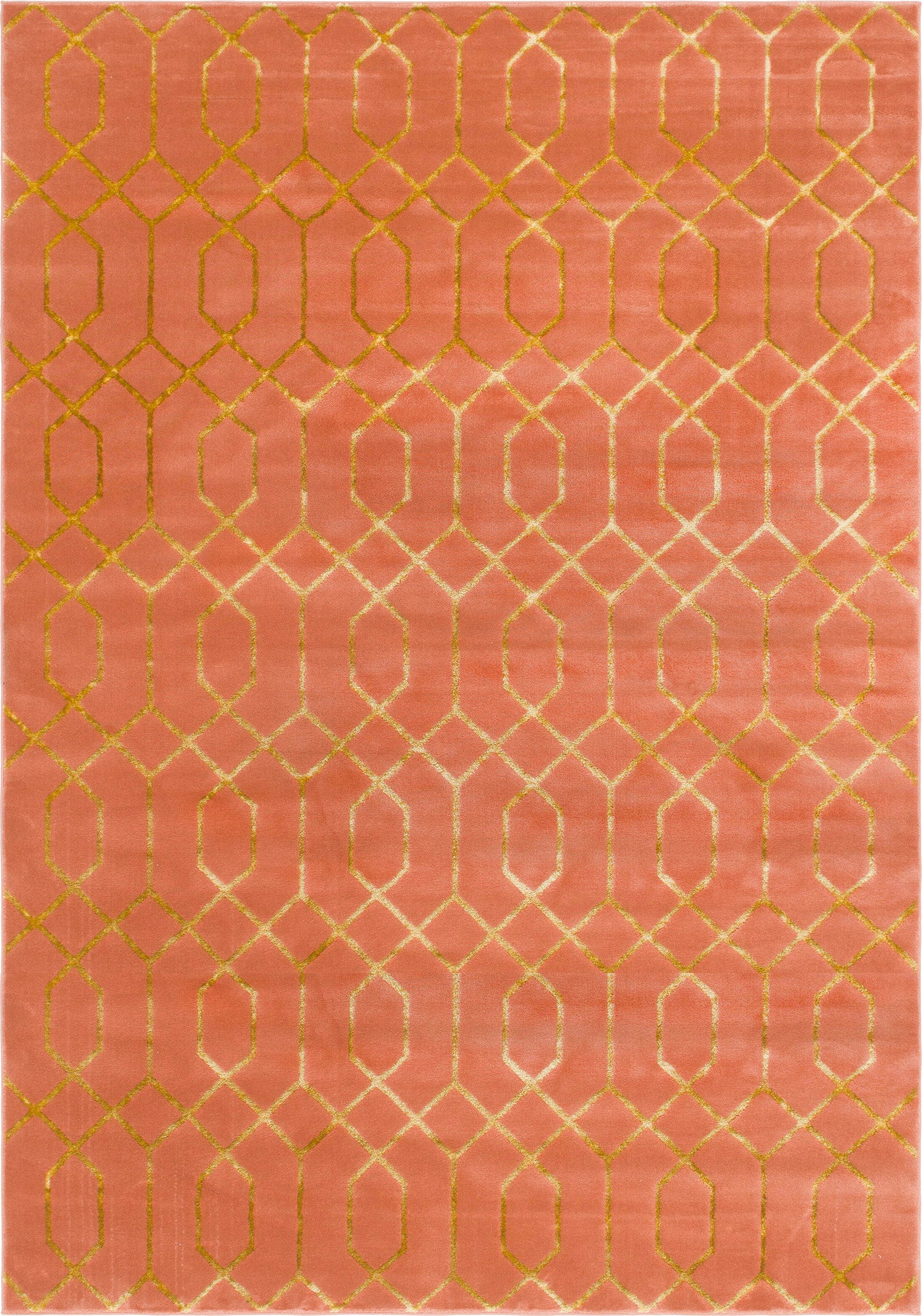 Glam Coral Area Rug Rug Size: Rectangle 9' x 12'