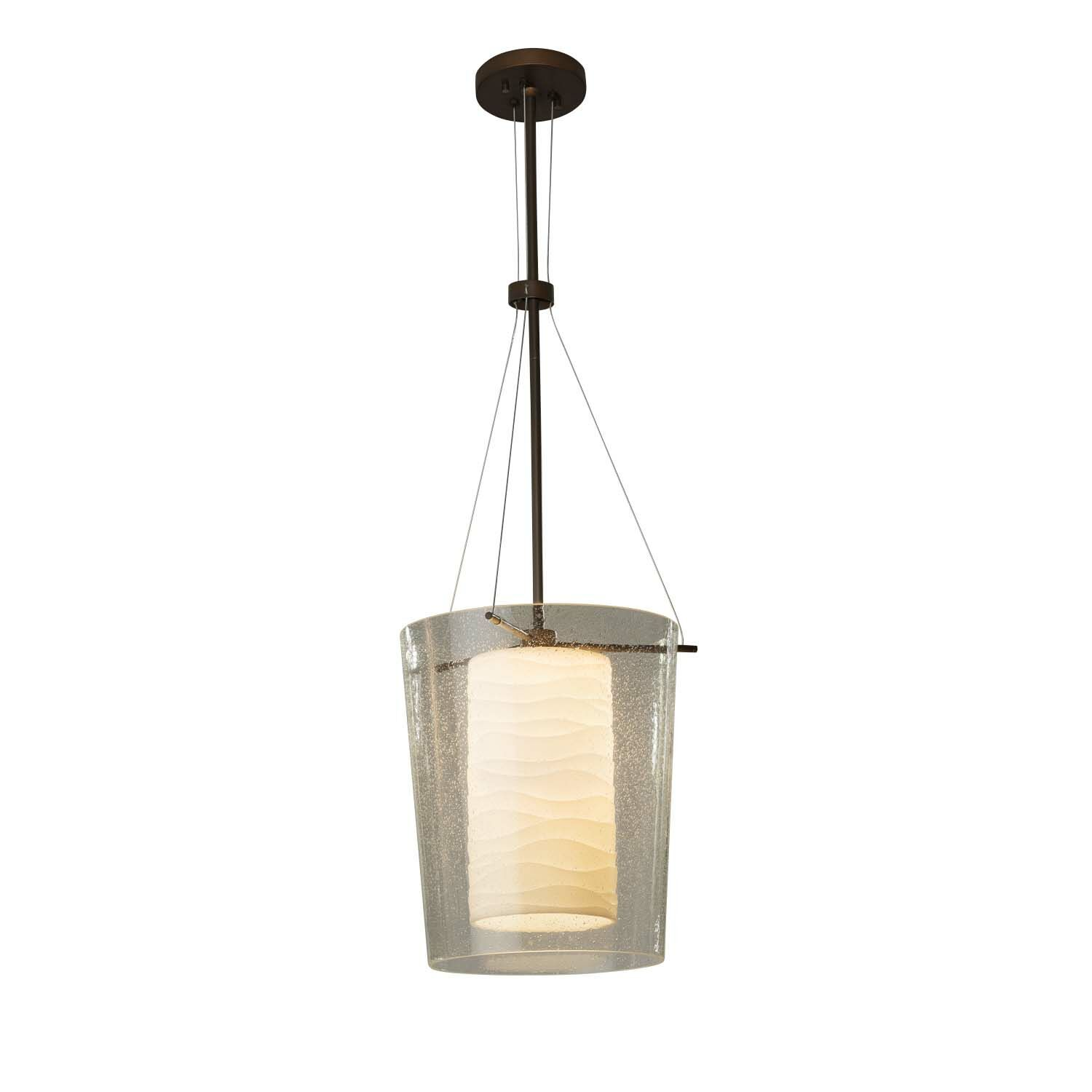 Conovan 1-Light Drum Pendant Finish: Brushed Nickel, Bulb Type: Incandescent