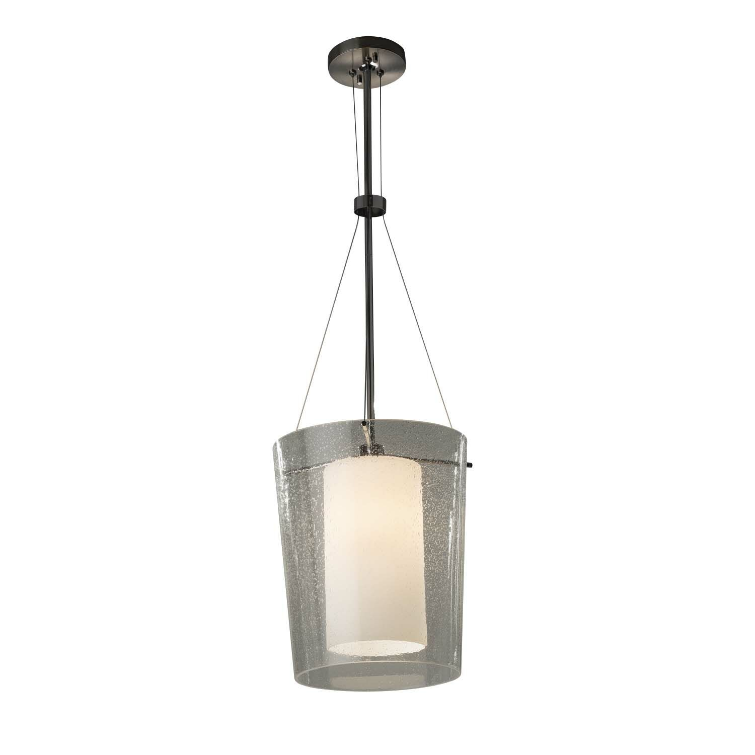 Luzerne 1-Light Drum Pendant Finish: Brushed Nickel, Shade Color: Ribbon, Bulb Type: Incandescent