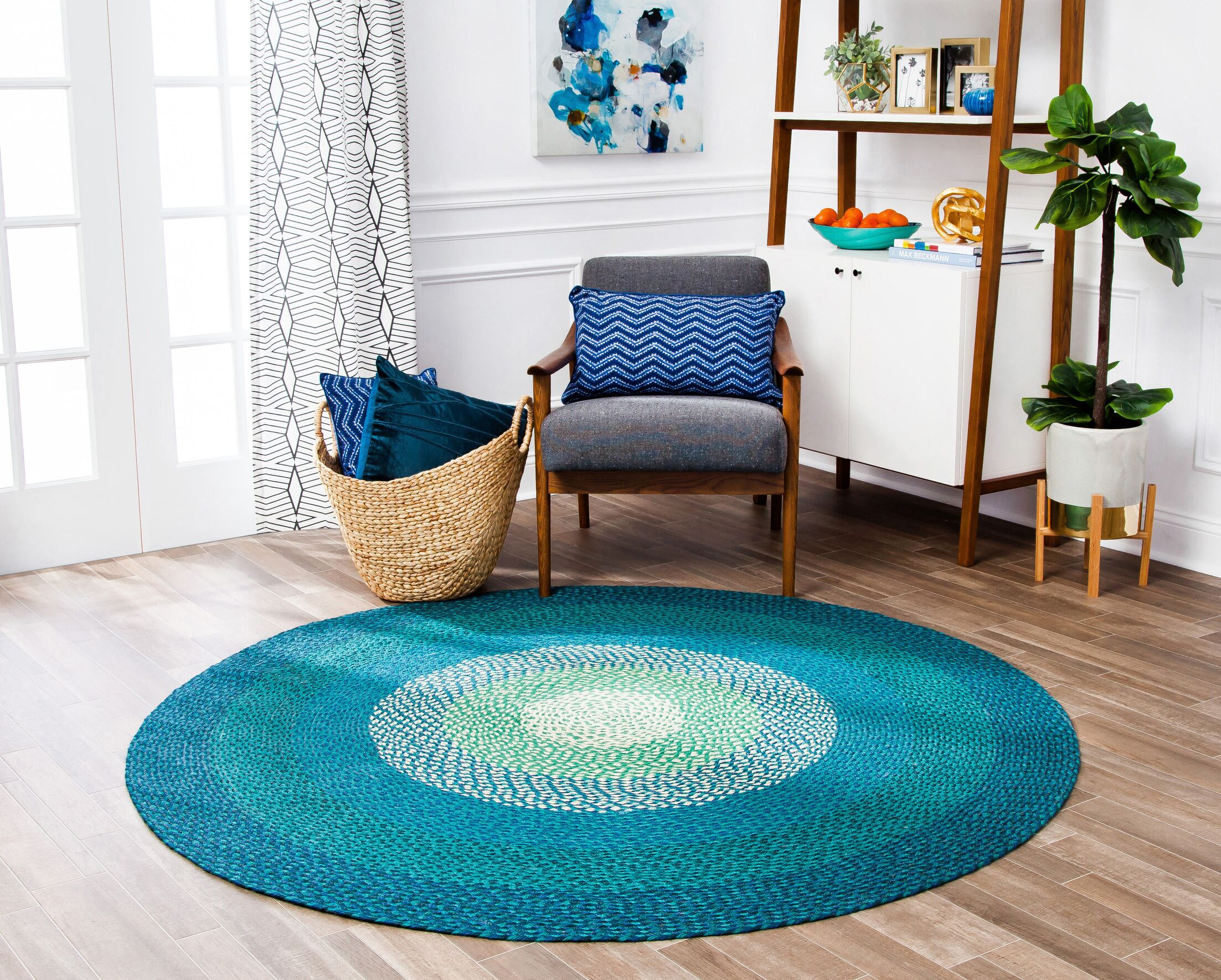 Fendley Hand-Woven Blue Area Rug Rug Size: Round 4'