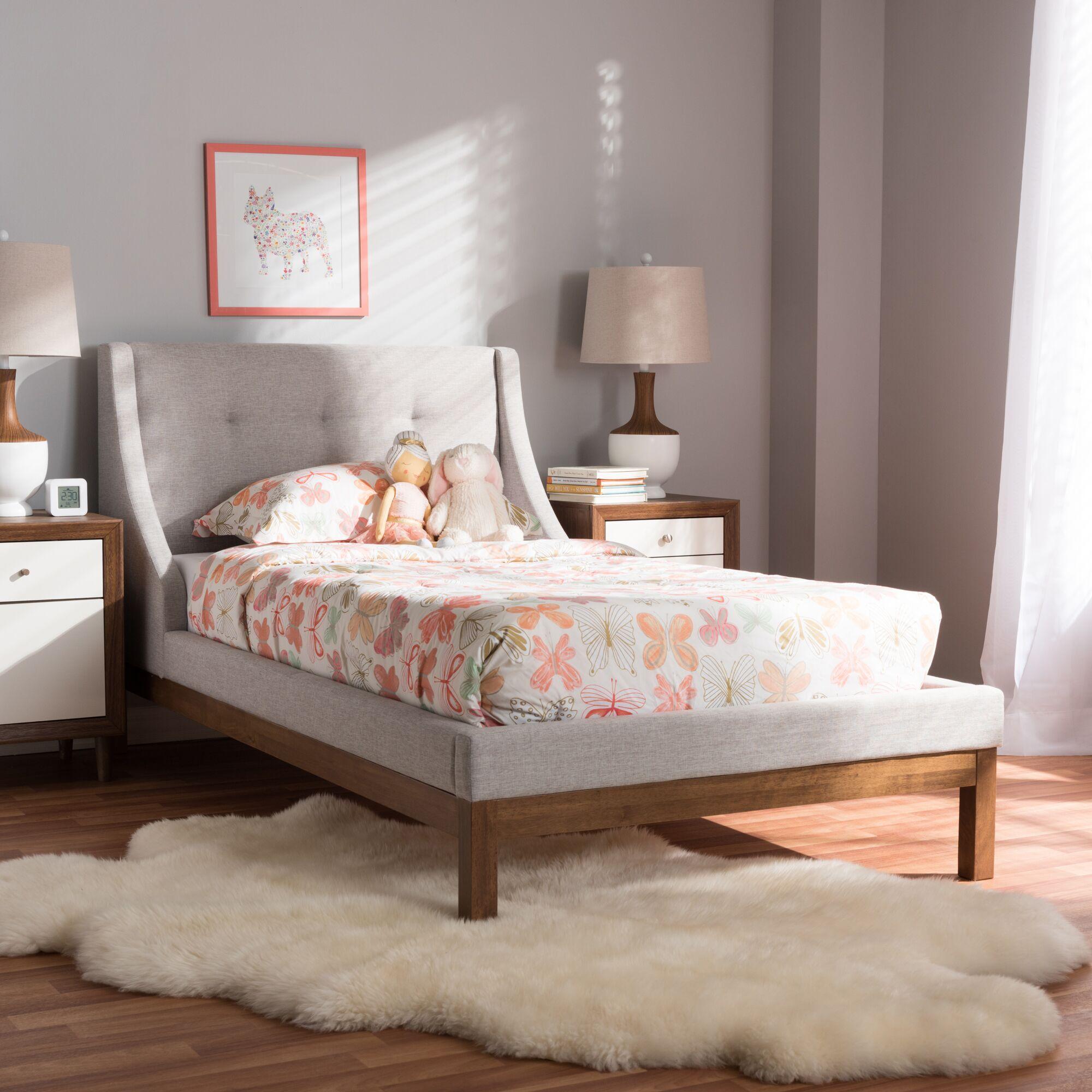 Trevor Upholstered Platform Bed Size: Full, Color: Grayish Beige