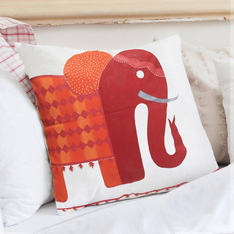Crowson The Red Elephant Throw Pillow Color: Red