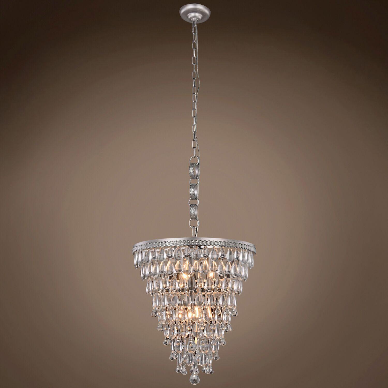 Florus Teardrop 5-Light Crystal Chandelier Bulb Type: LED