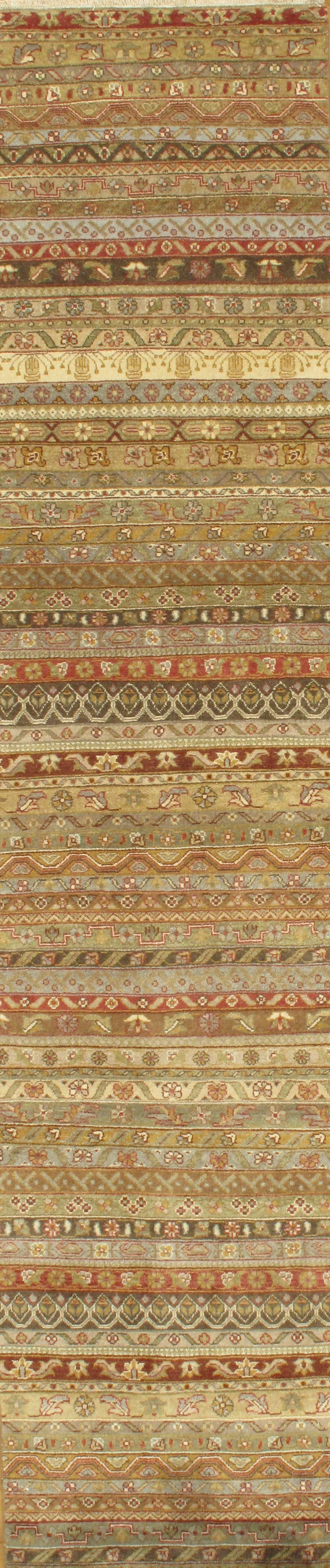 Modern Design Hand-Knotted Wool Brown/Green Area Rug