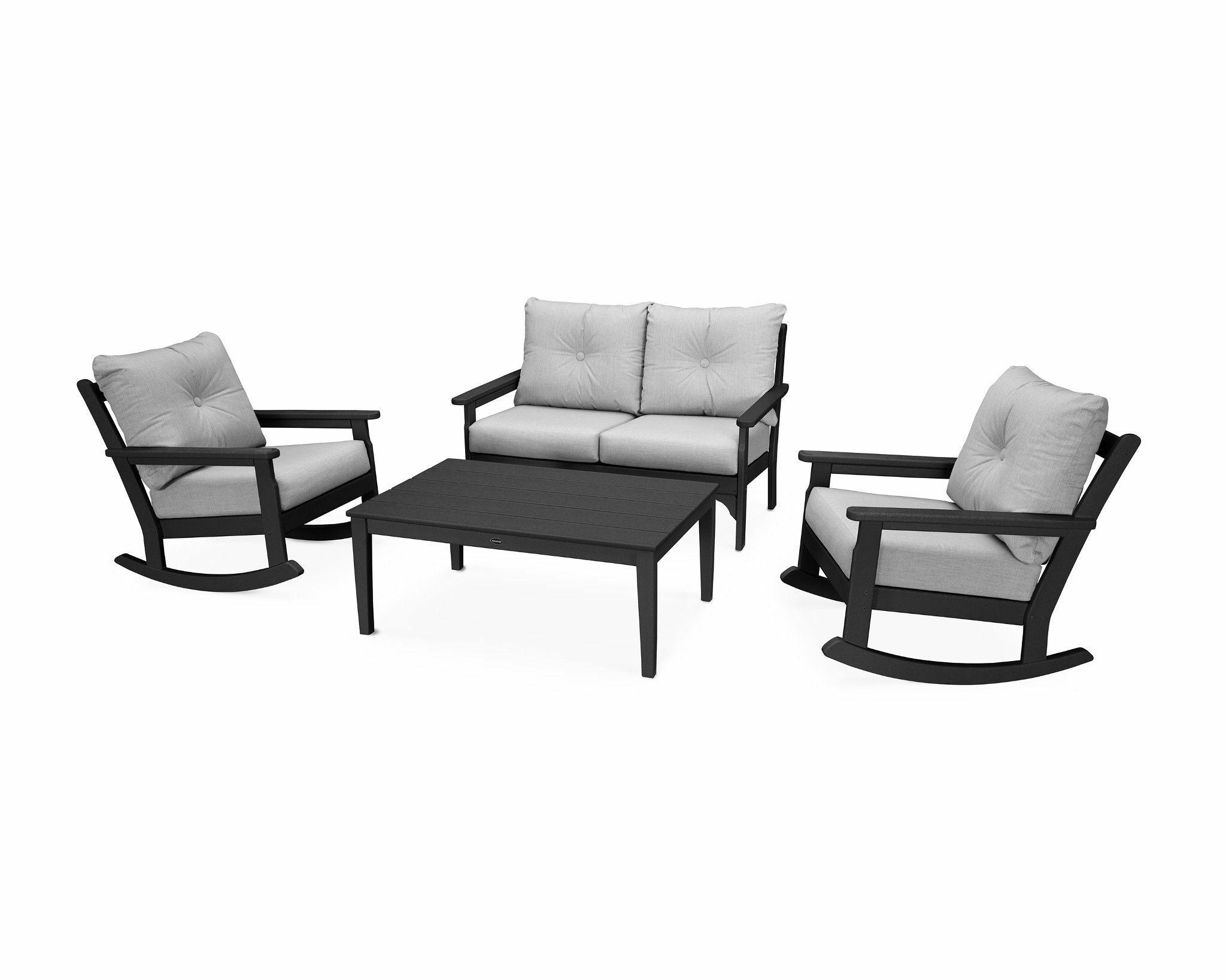 Vineyard 4 Piece Sofa Set with Sunbrella Cushions Frame Finish: Green, Fabric: Sesame