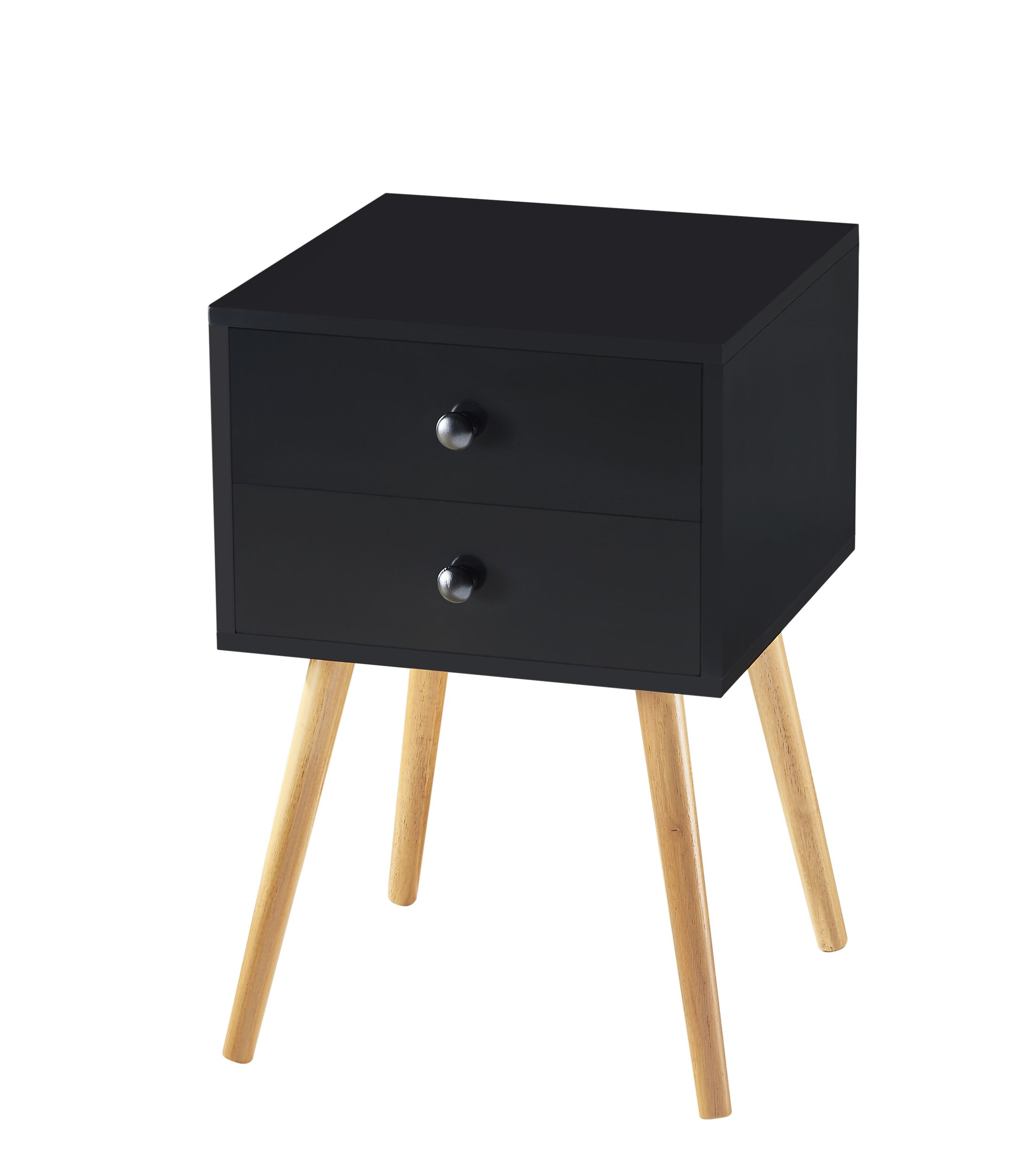 Minard End Table with Storage Color: Black