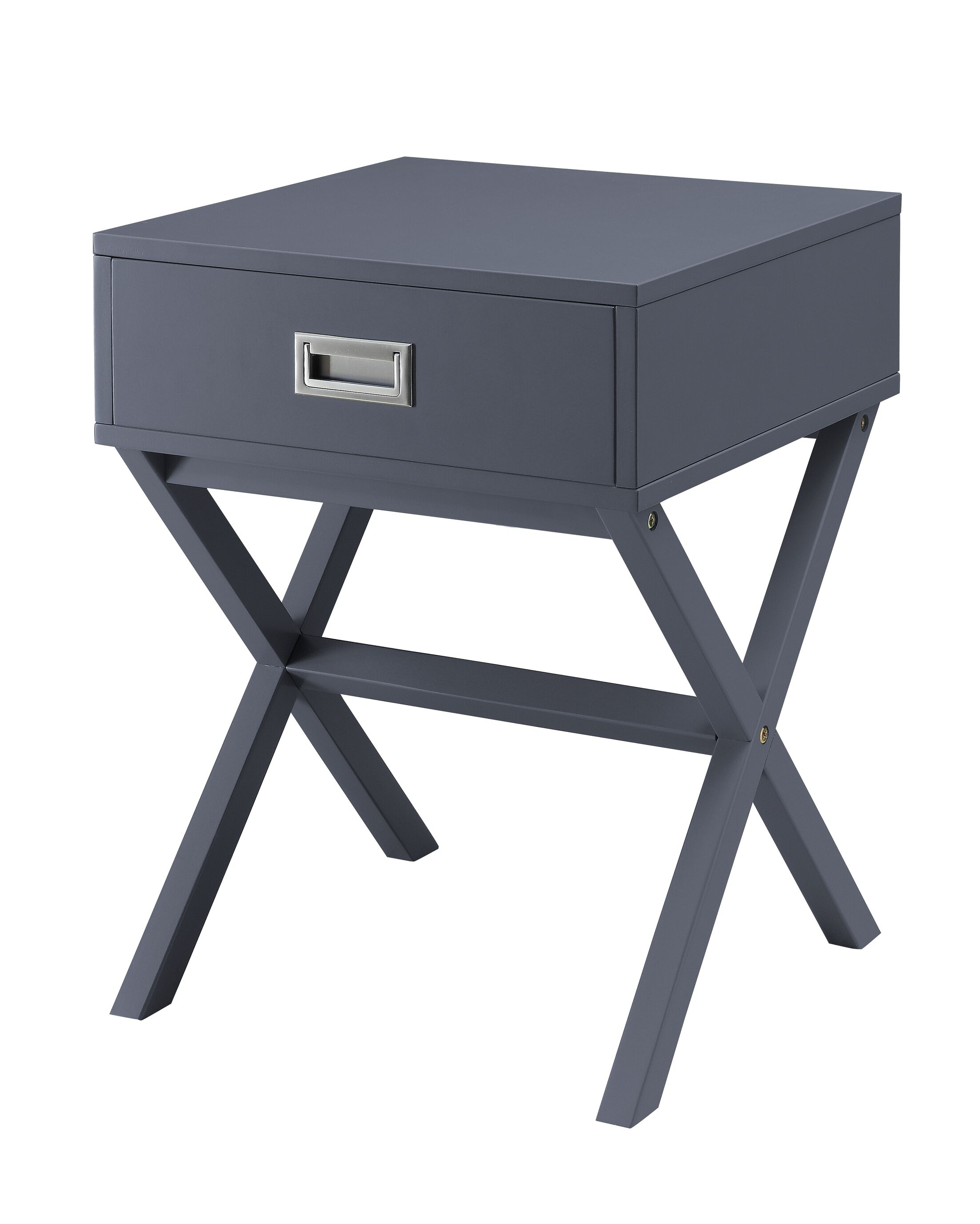 Aviana End Table with Storage Color: Gray