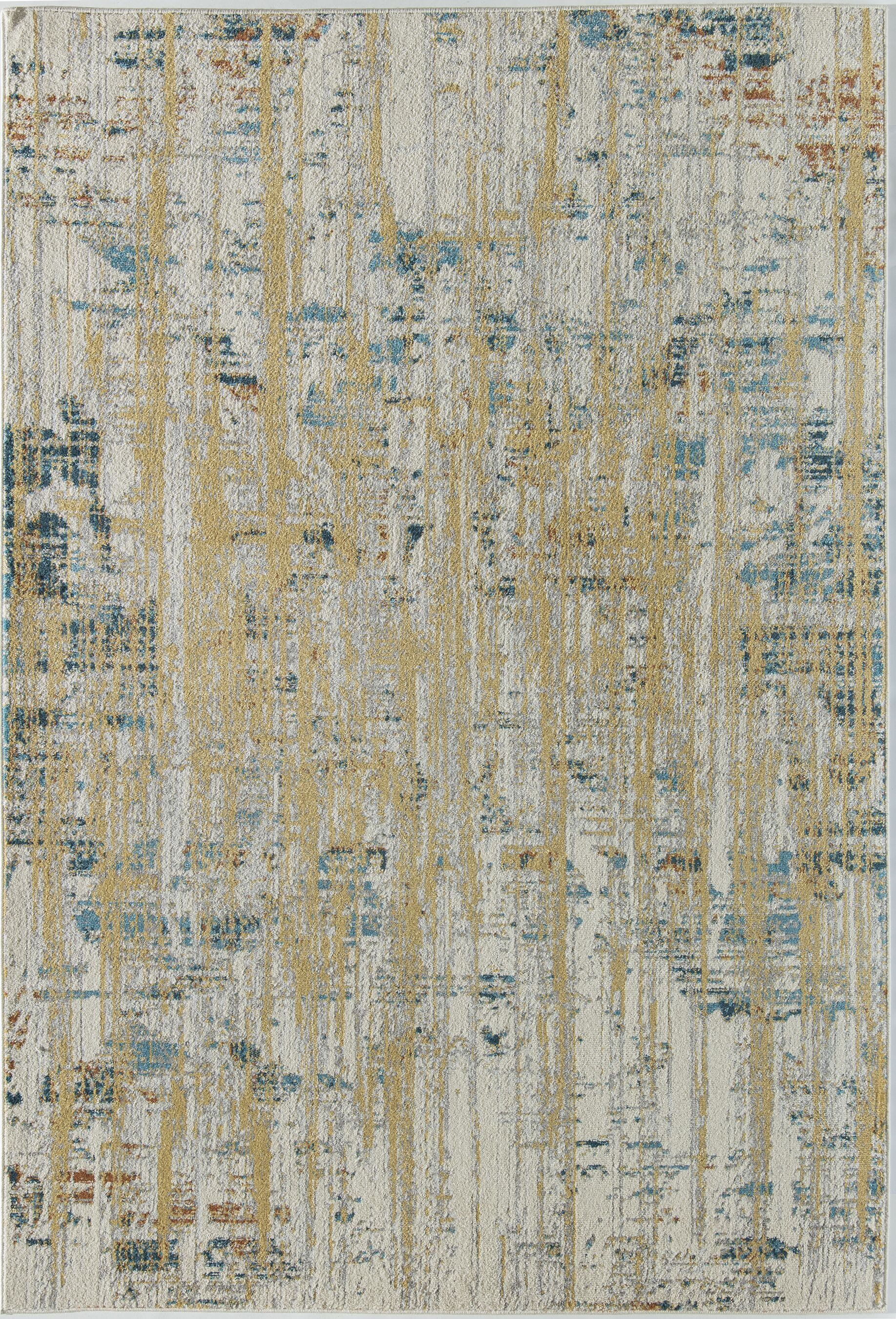 Amelie Ivory/Yellow Area Rug Rug Size: Rectangle 8' x 10'
