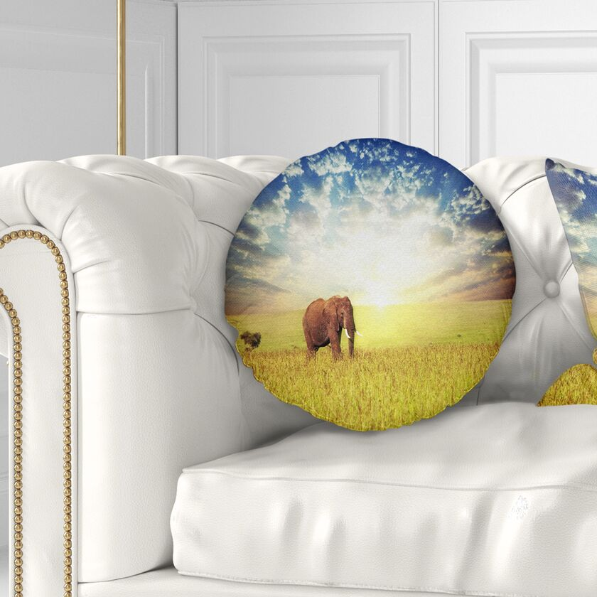 African Savannah Elephant in Grassland Throw Pillow Size: 16