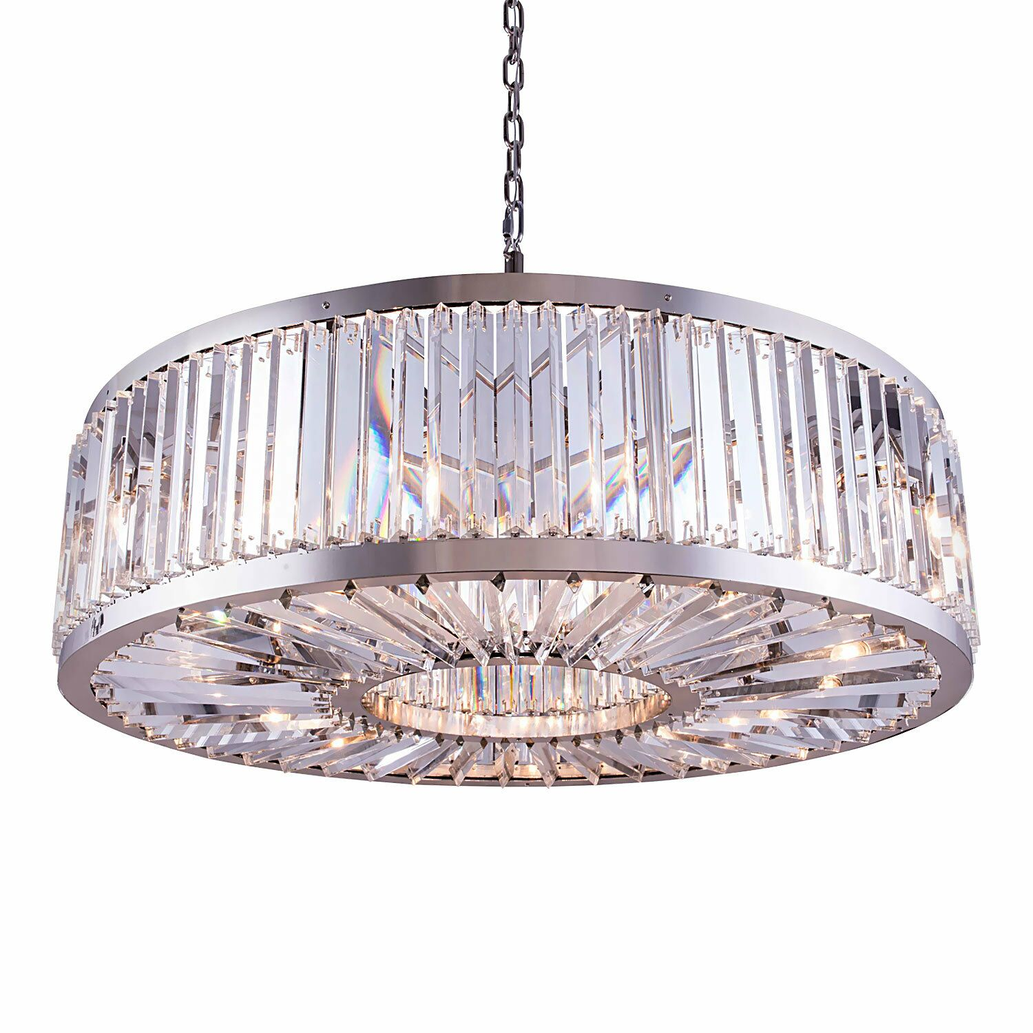 Herkimer 10-Light Drum Chandelier Finish / Shade Color: Polished Nickel/Clear, Size: 75.5