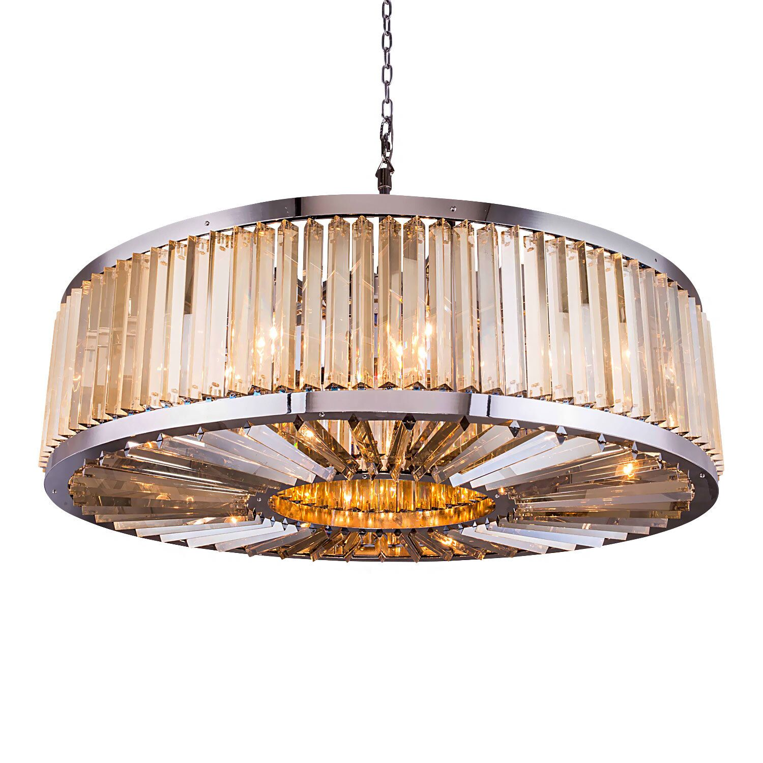 Herkimer 10-Light Drum Chandelier Finish / Shade Color: Polished Nickel/Golden Teak, Size: 75.5