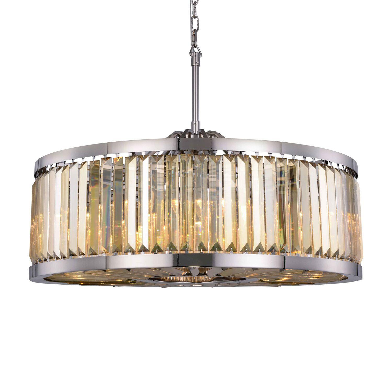 Herkimer 10-Light Drum Chandelier Finish / Shade Color: Polished Nickel/Golden Teak, Size: 75.5
