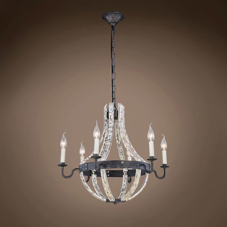 Calantha 6-Light Candle Style Chandelier Finish: Ivory, Bulb Type: LED, Size: 82