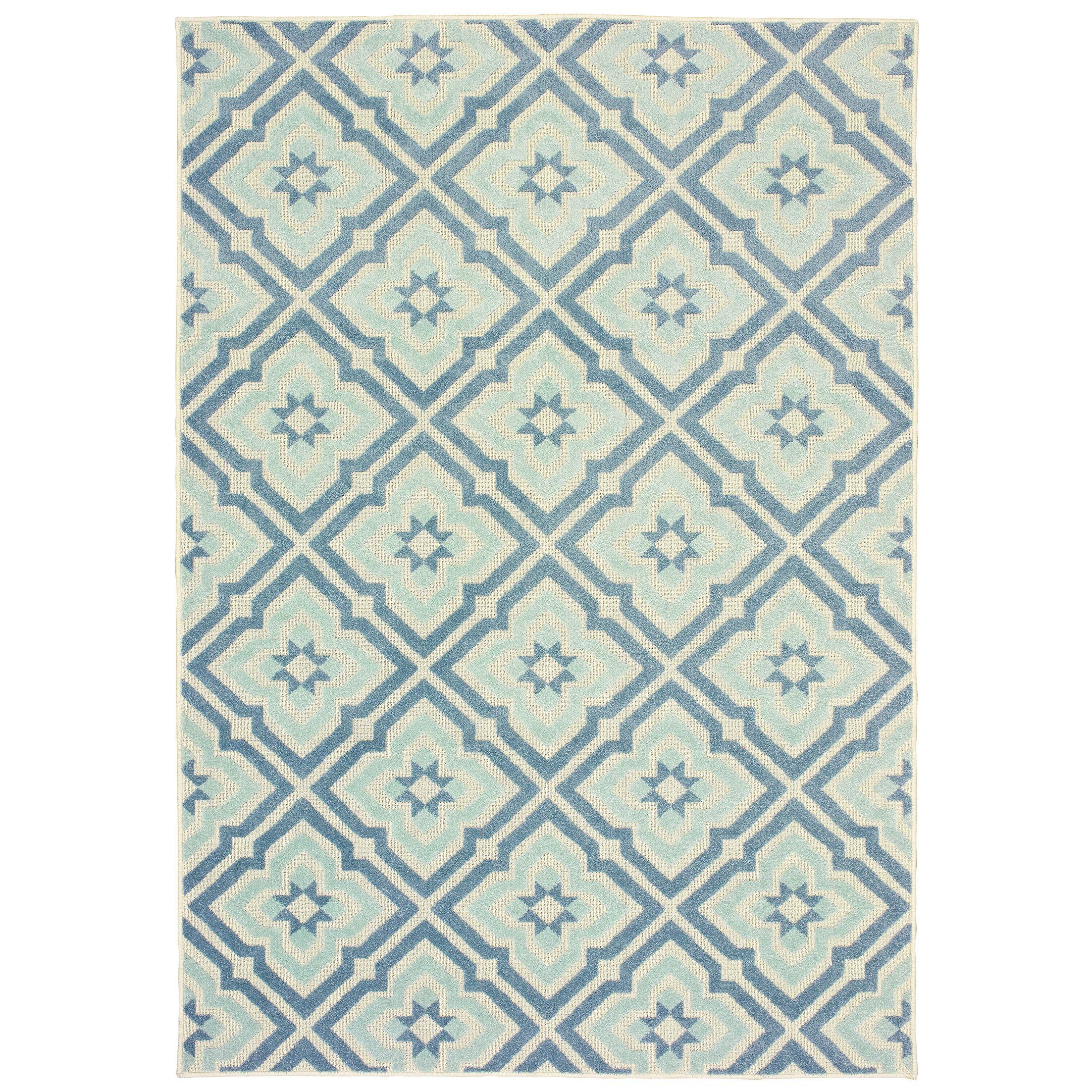Fluellen Blue/Ivory Indoor/Outdoor Area Rug Rug Size: Rectangle 6'7