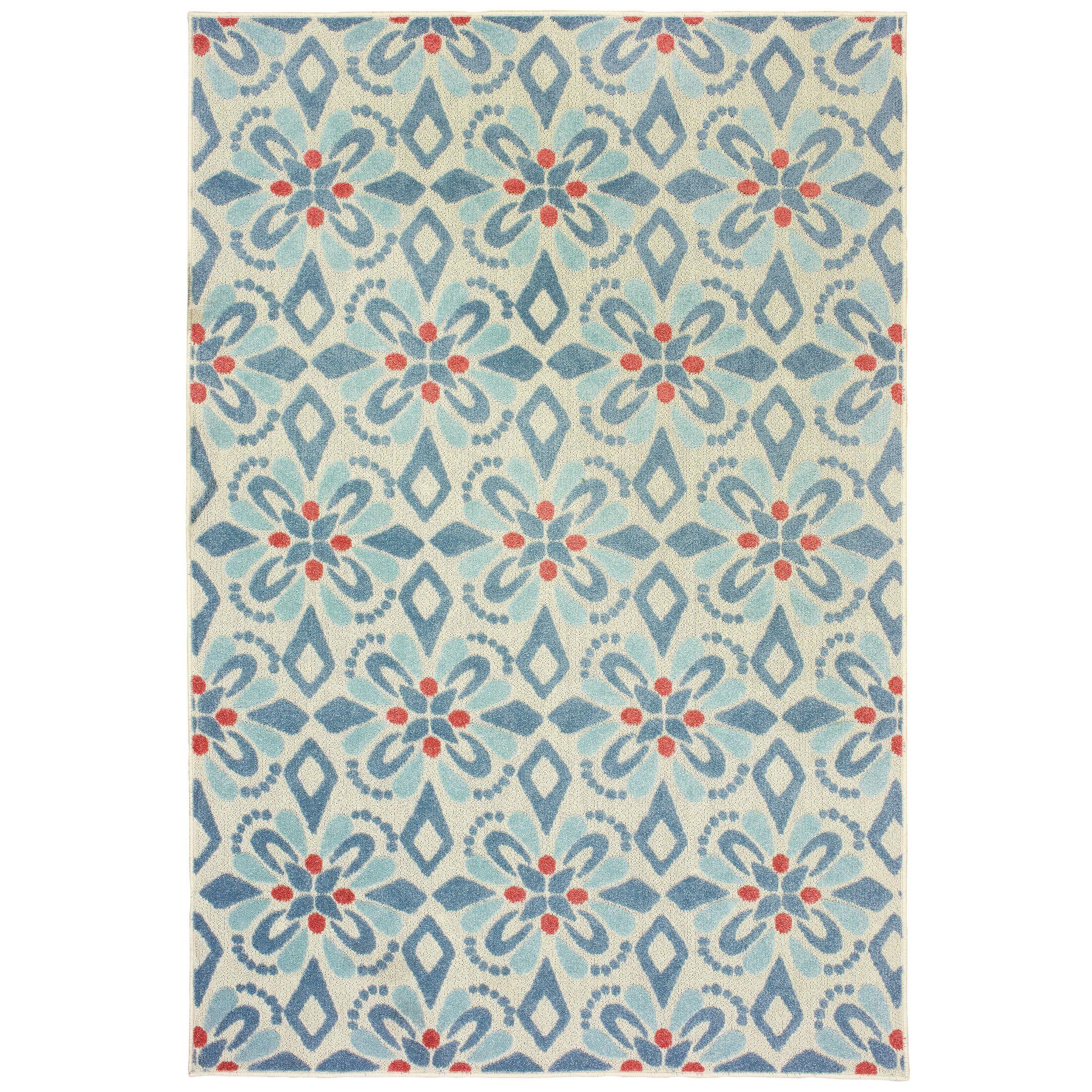 Gerritt Floral Blue Indoor/Outdoor Area Rug Rug Size: Rectangle 3'3