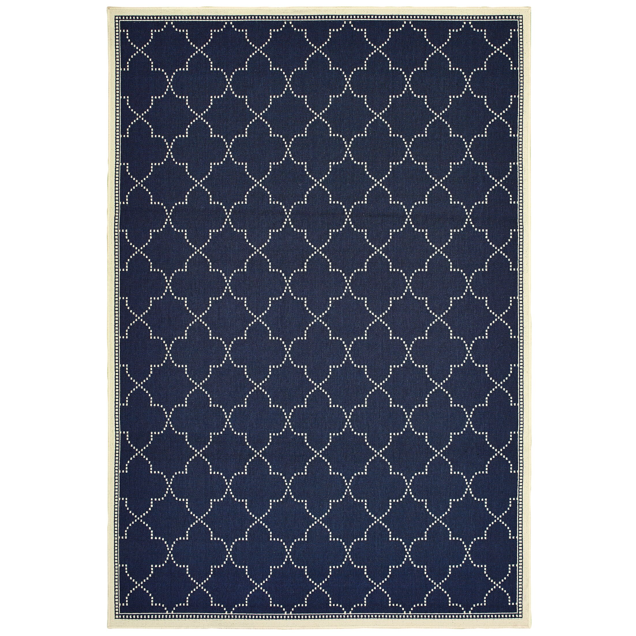 Salerno Simple Lattice Navy Indoor/Outdoor Area Rug Rug Size: Rectangle 8'6