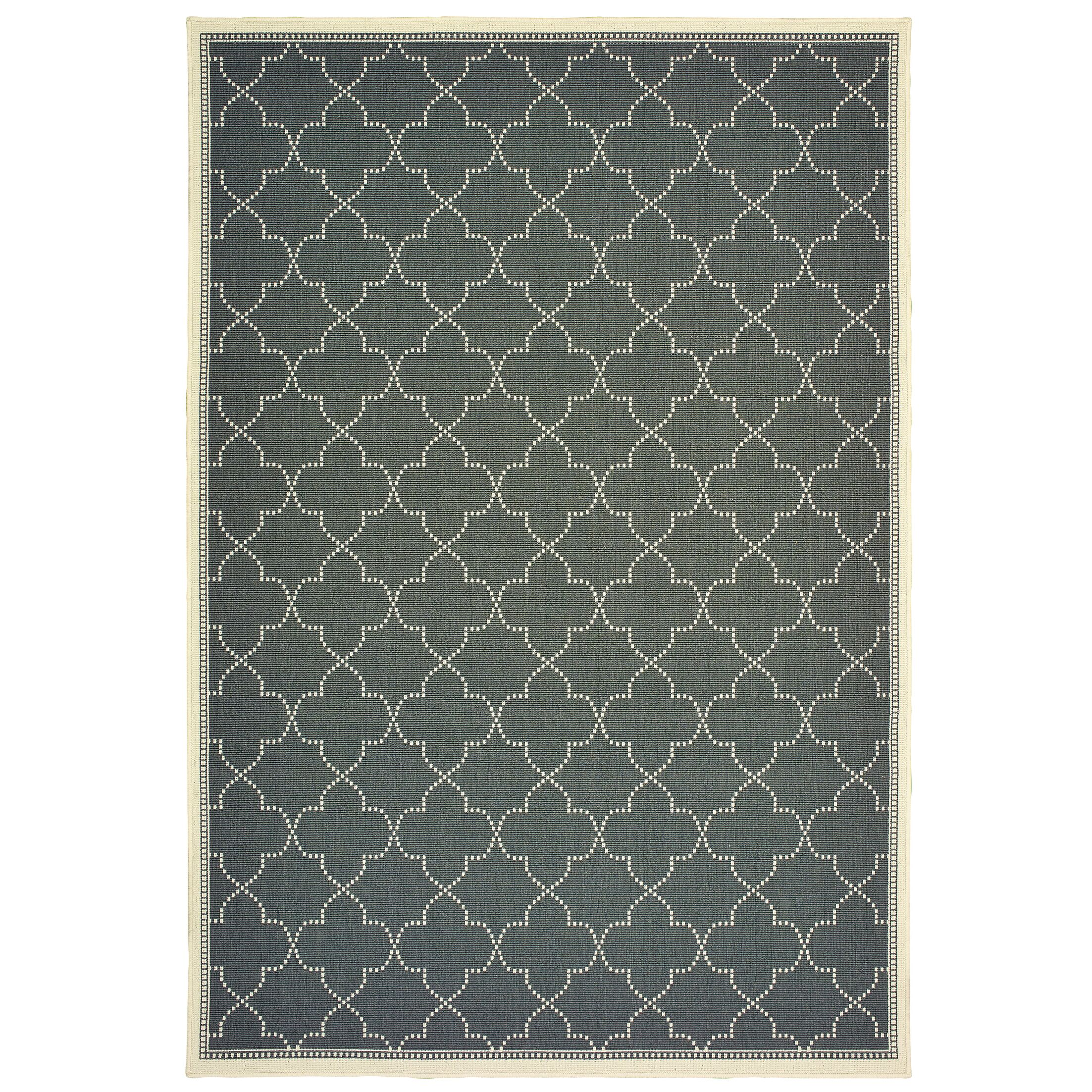 Salerno Simple Lattice Gray Indoor/Outdoor Area Rug Rug Size: Rectangle 7'10