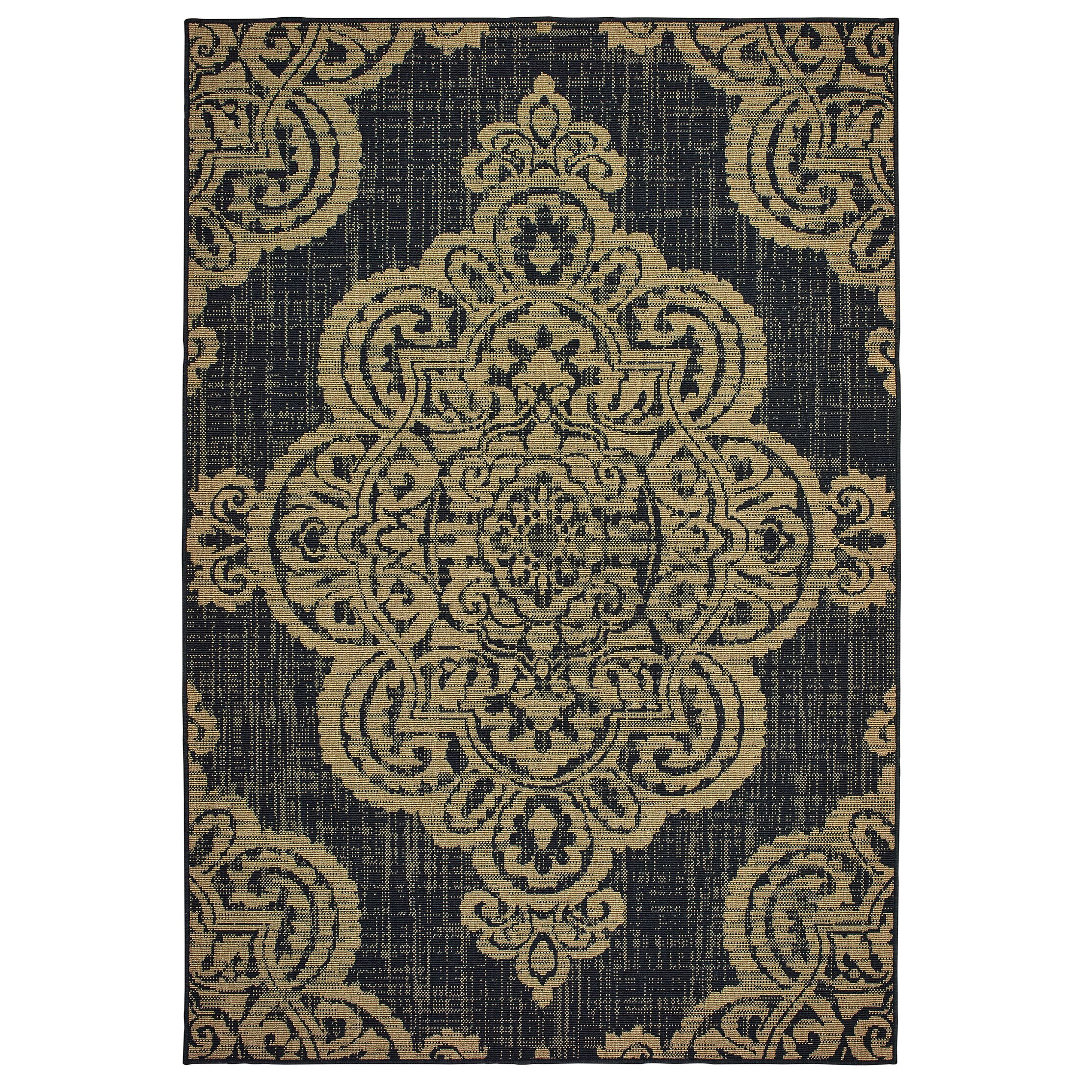Salerno Over-scale Medallion Tan Indoor/Outdoor Area Rug Rug Size: Rectangle 7'10