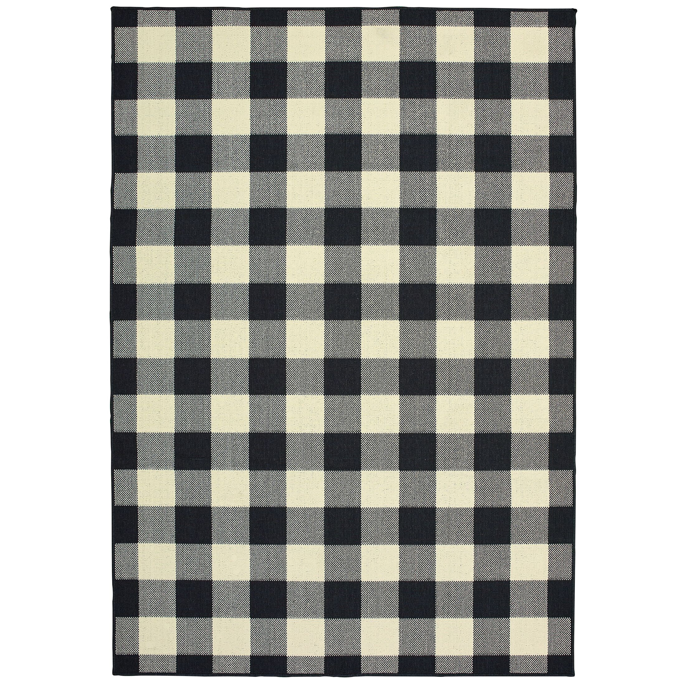 Wiest Gingham Check Black/Ivory Indoor/Outdoor Area Rug Rug Size: Rectangle 2'5