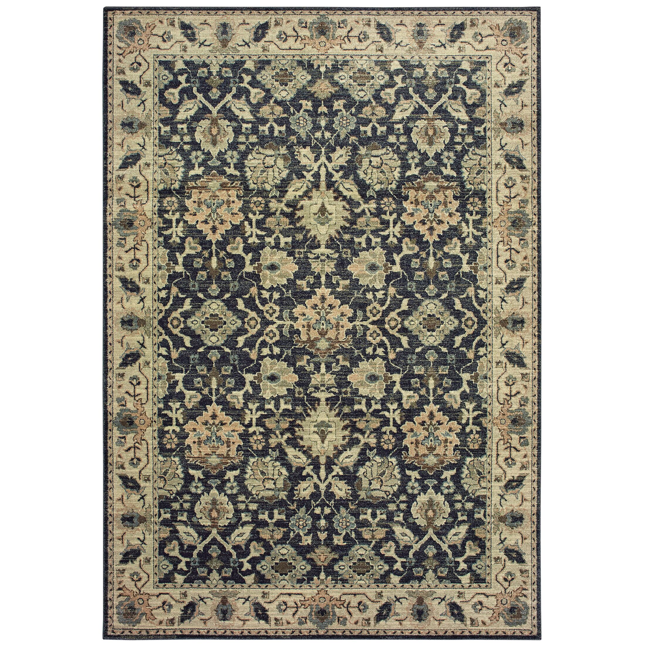 Salgado Vintage Border Navy/Ivory Area Rug Rug Size: Rectangle 5'3