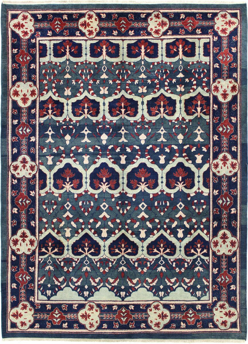 One-of-a-Kind Dowling Vegt Dye Hand-Woven Wool Green/Navy Area Rug
