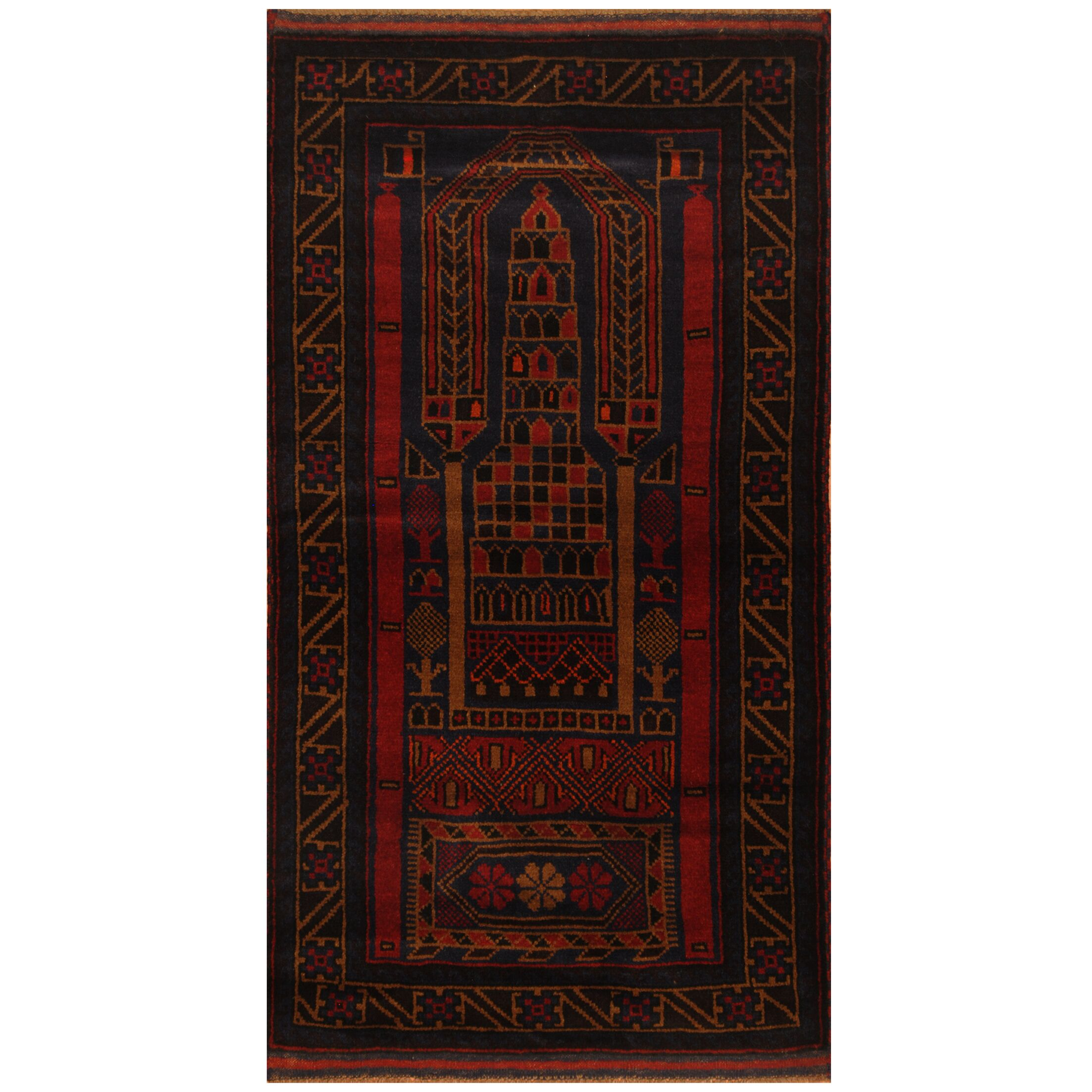 One-of-a-Kind Culpepper Balouchi Hand-Knotted Wool Navy/Red Area Rug