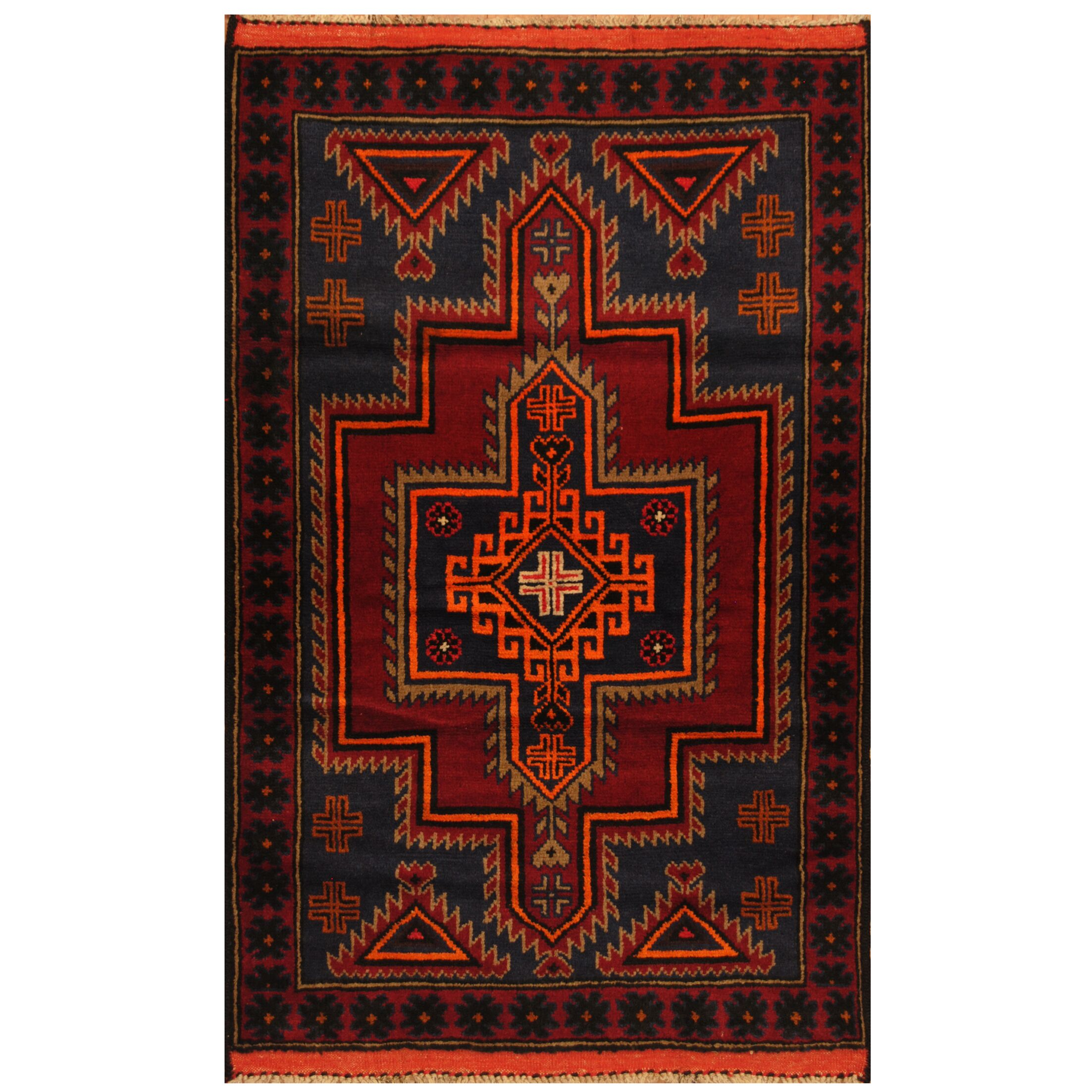 One-of-a-Kind Culbert Balouchi Hand-Knotted Wool Navy/Red Area Rug