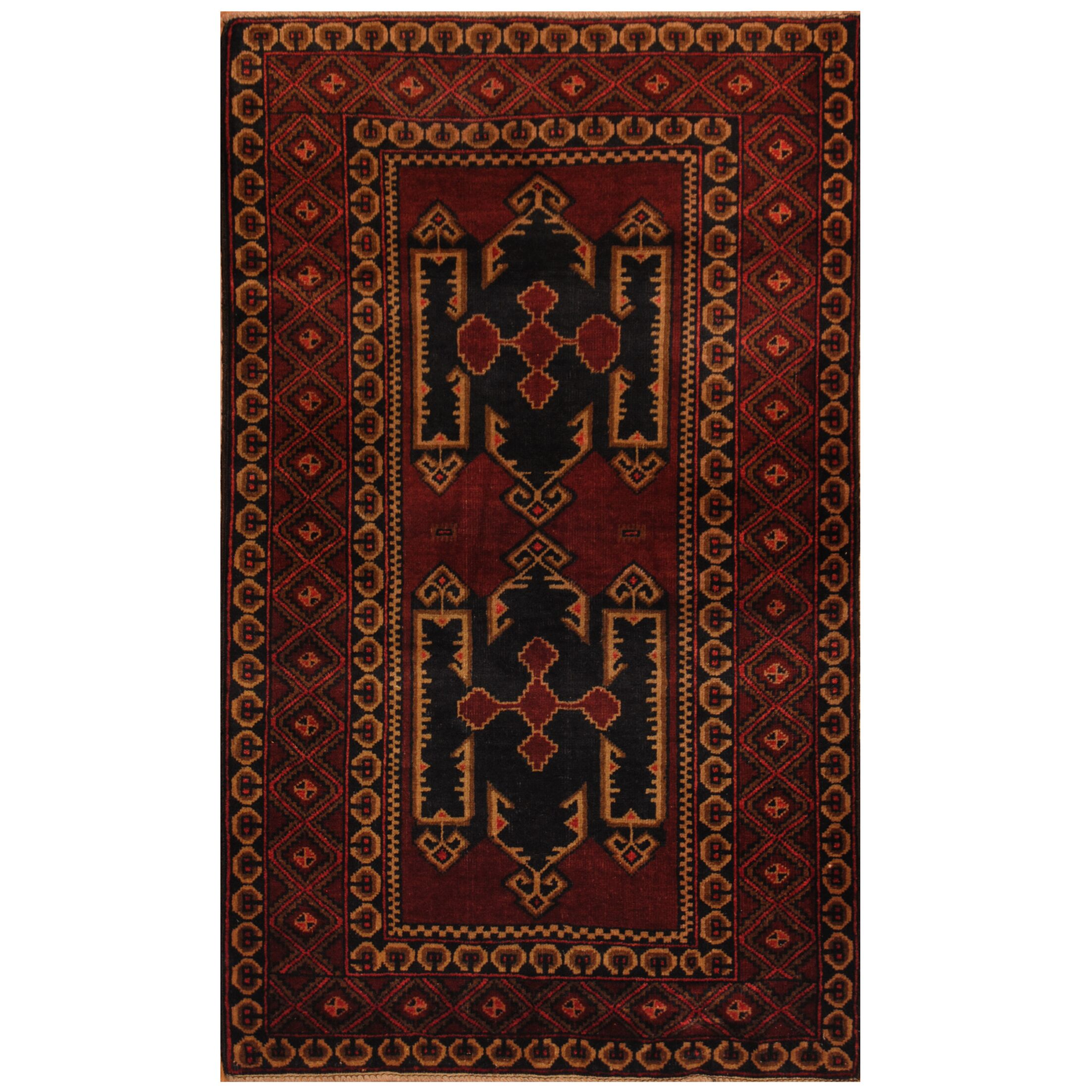 One-of-a-Kind Cueva Balouchi Hand-Knotted Wool Brown Area Rug