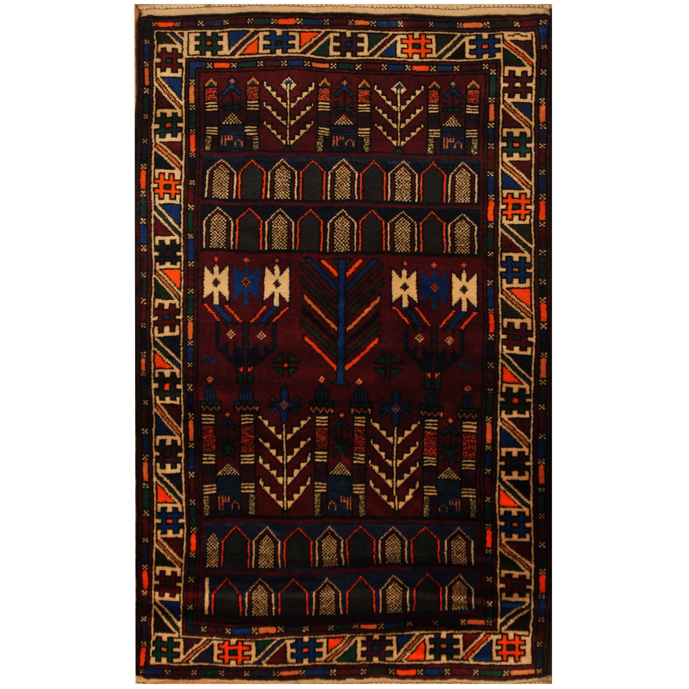 One-of-a-Kind Cullison Balouchi Hand-Knotted Wool Red/Navy Area Rug