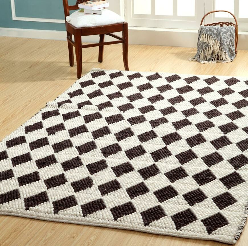 One-of-a-Kind Midford Harlequin Diamond Hand Woven Ivory Are Rug