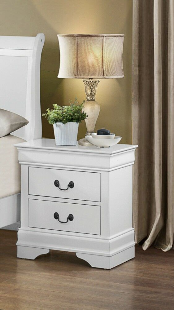 Leanos Wooden 2 Drawer Nightstand Color: White