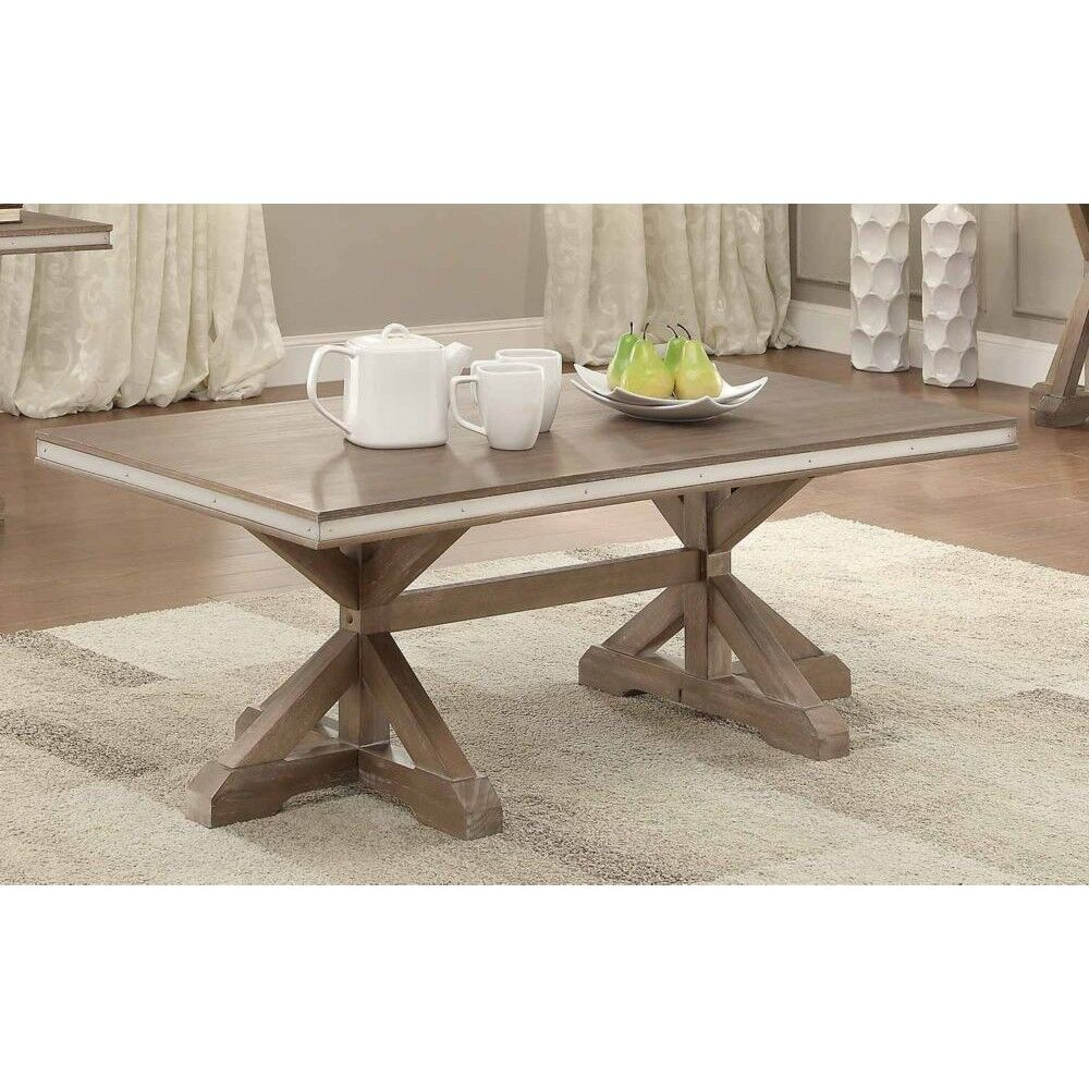 Krajewski Metal Banded Wooden Rectangular 3 Piece Coffee Table Set
