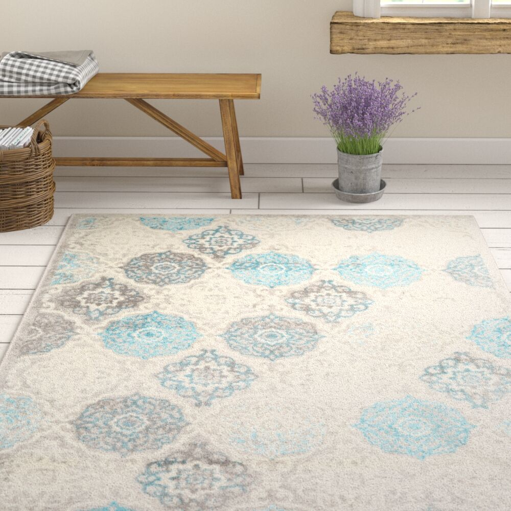 Kallie Quilted Gray/Blue Area Rug Rug Size: Rectangle 7'9