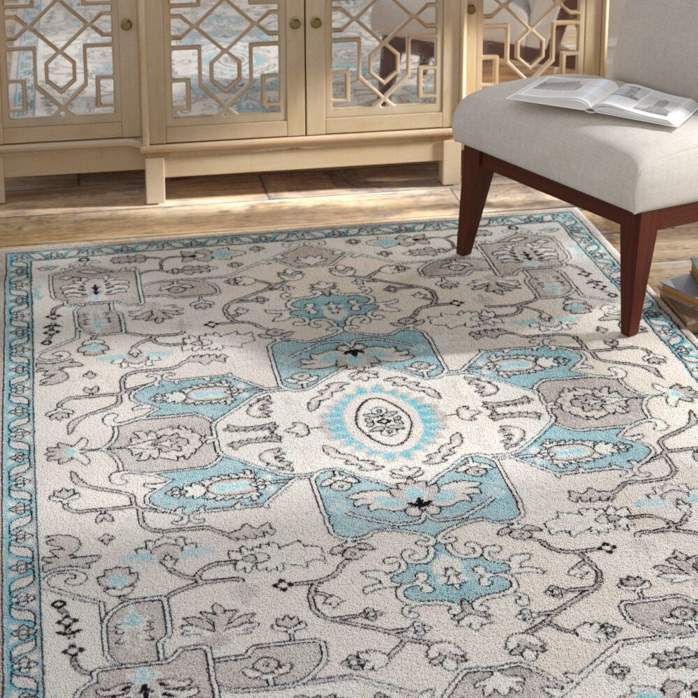 Brees Kaleidoscope Silver Area Rug Rug Size: 6'6