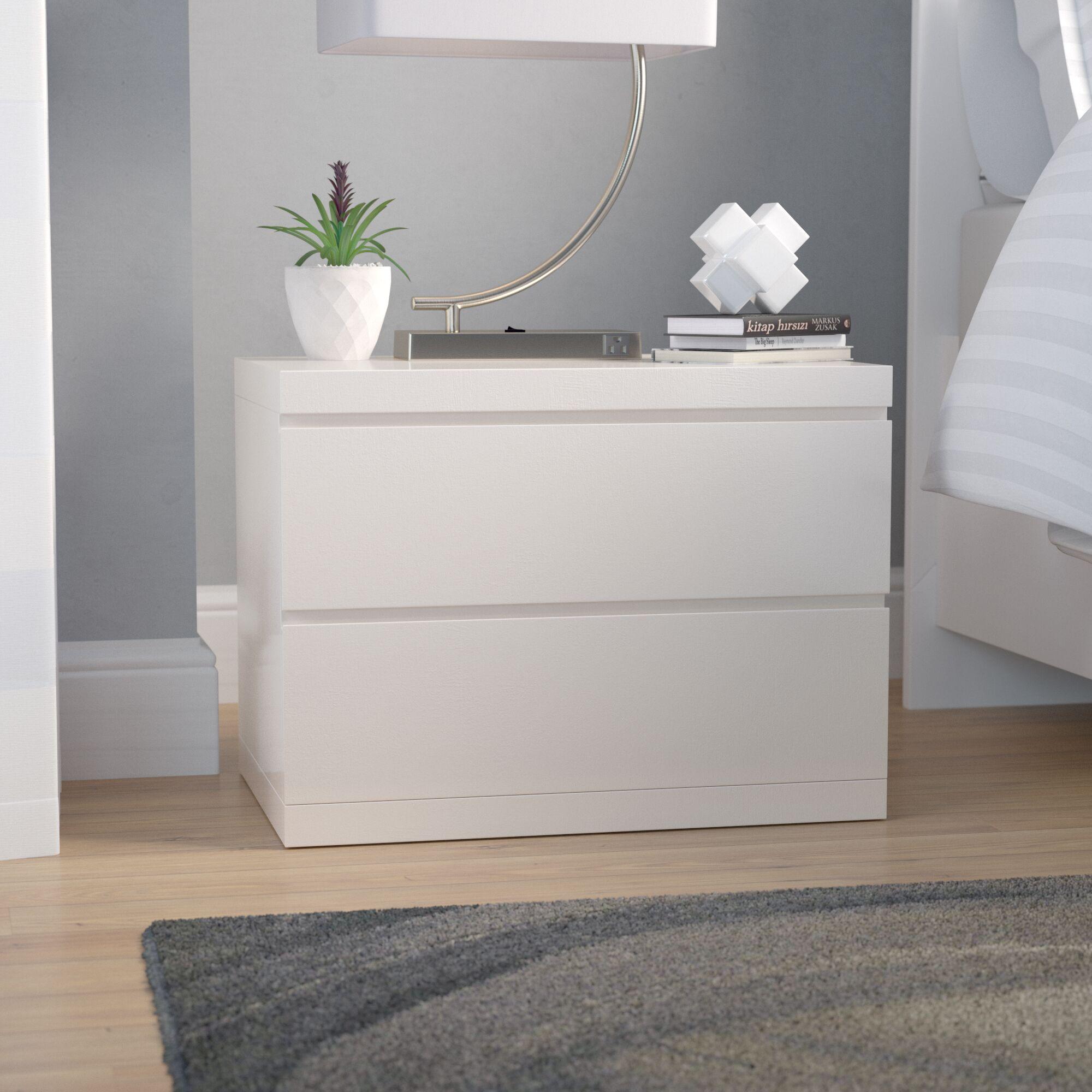 Salia 2 Drawer  Nightstand Color: High Gloss White