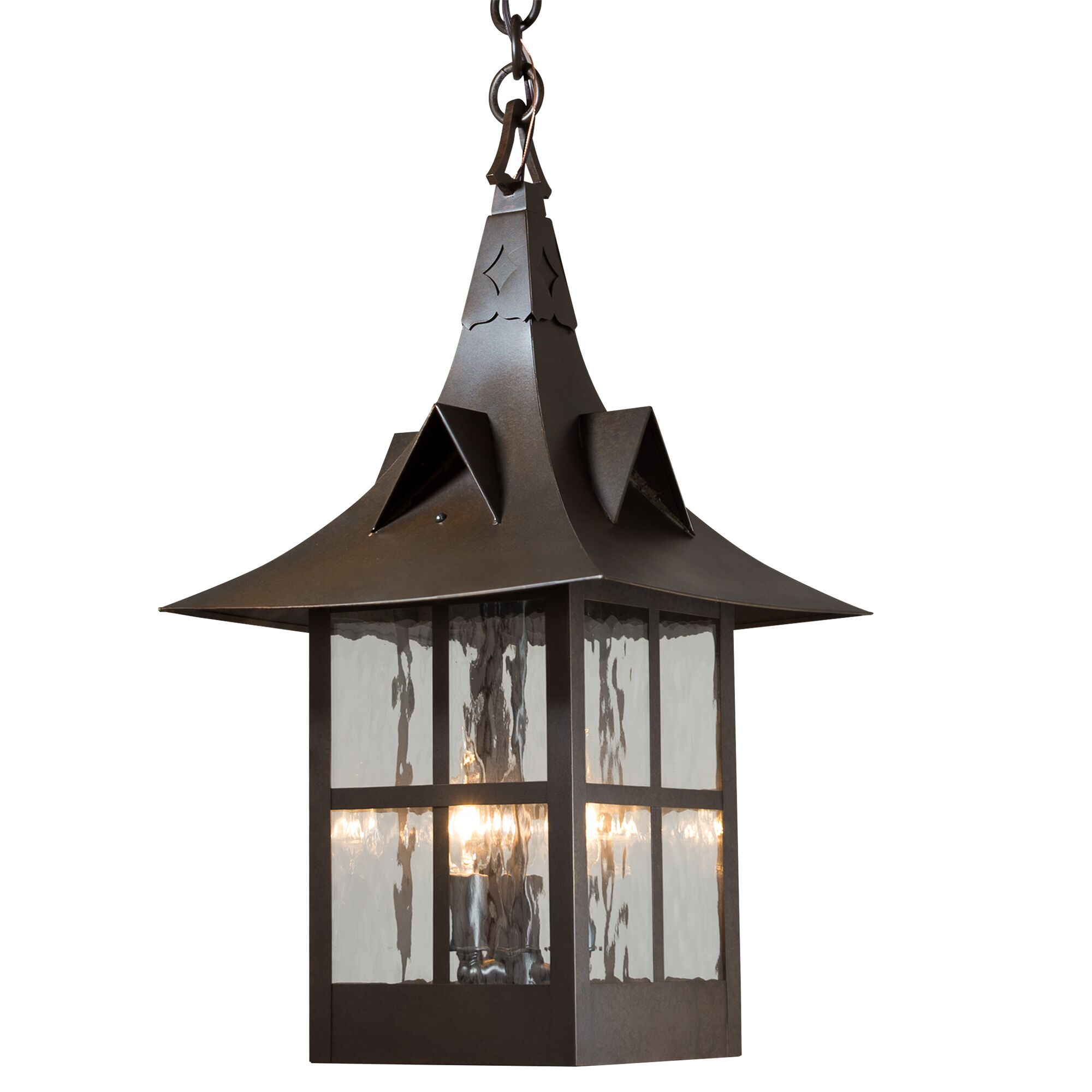 Channelle 4-Light Lantern Pendant Shade Color: Water Glass, Finish: Textured Black, Size: 59