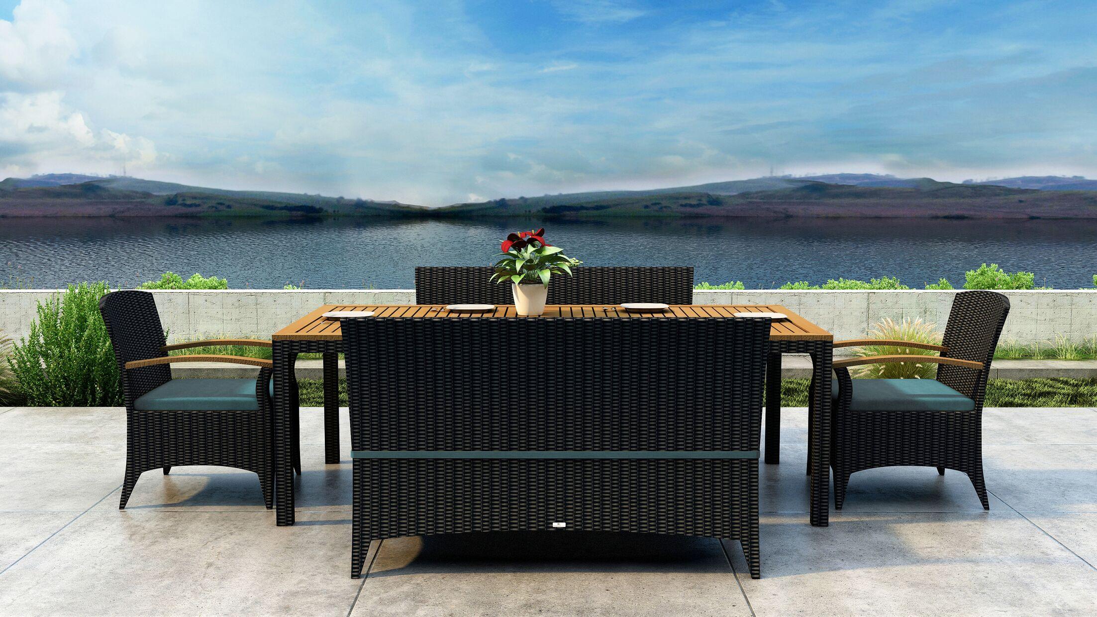 Aisha 5 Piece Dining Set with Sunbrella Cushion Cushion Color: Cast Lagoon