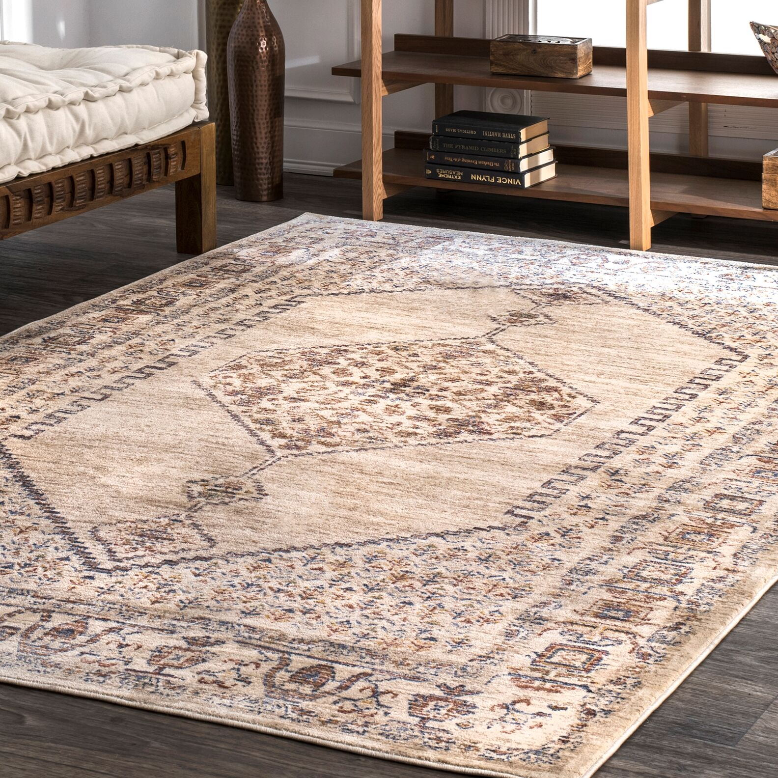 Ferriera Beige/Blue Area Rug Rug Size: Rectangle 4' x 6'