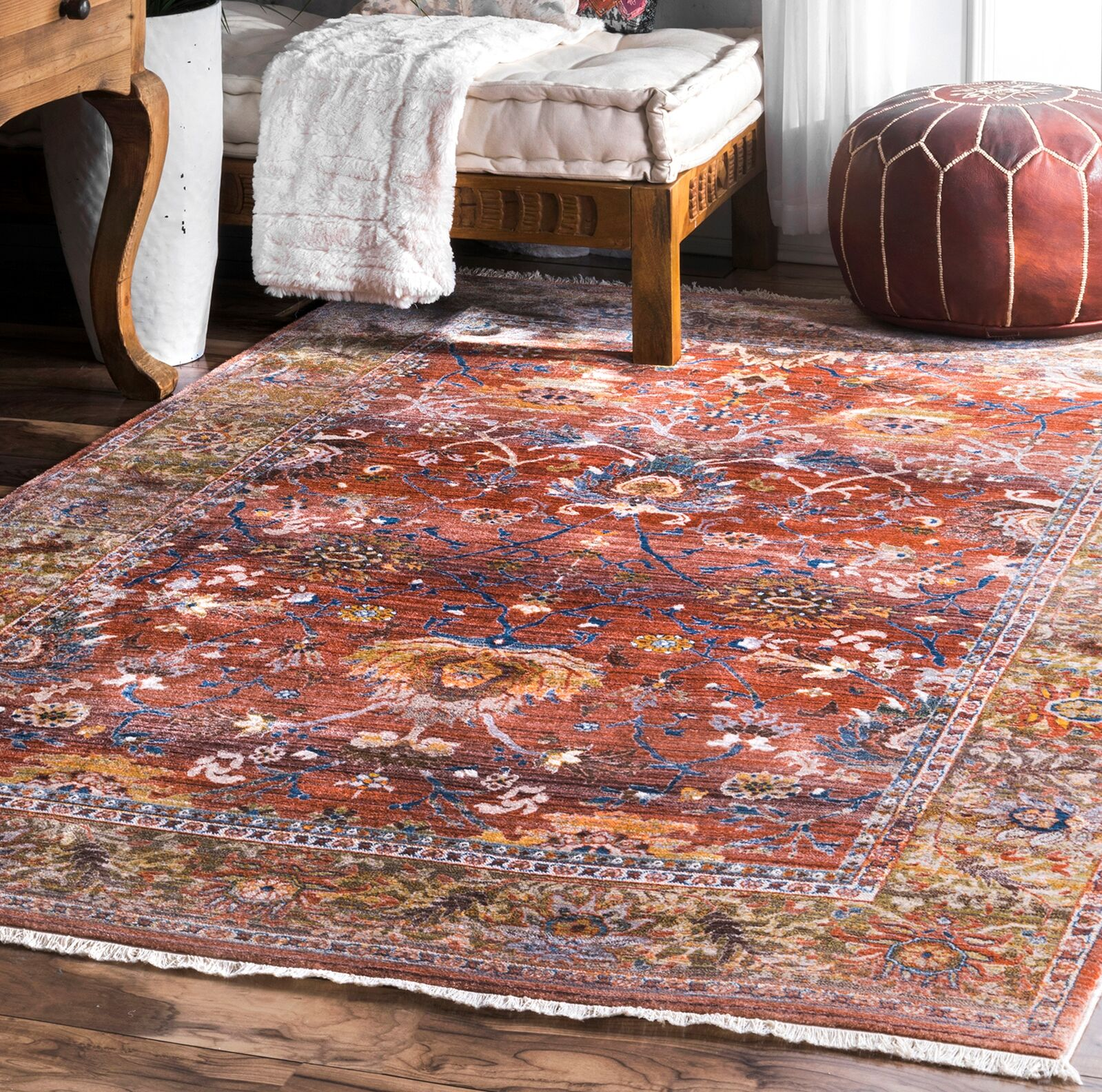 Fermin Red/Blue Area Rug Rug Size: Rectangle 8' x 10'