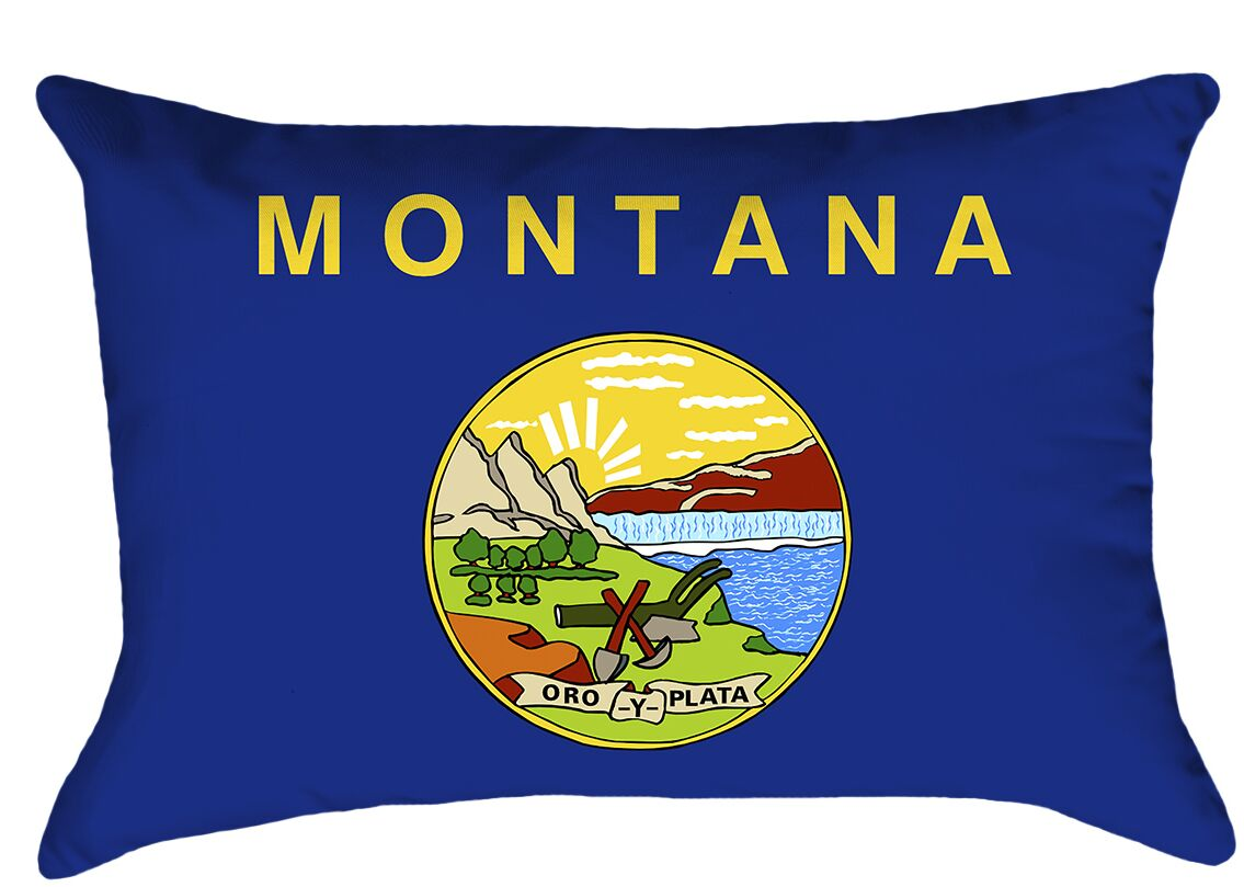 Montana Flag Product Type: Lumbar Pillow, Cover Material: Poly Twill-Concealed Zipper-Indoor, Fill Material: Polyester